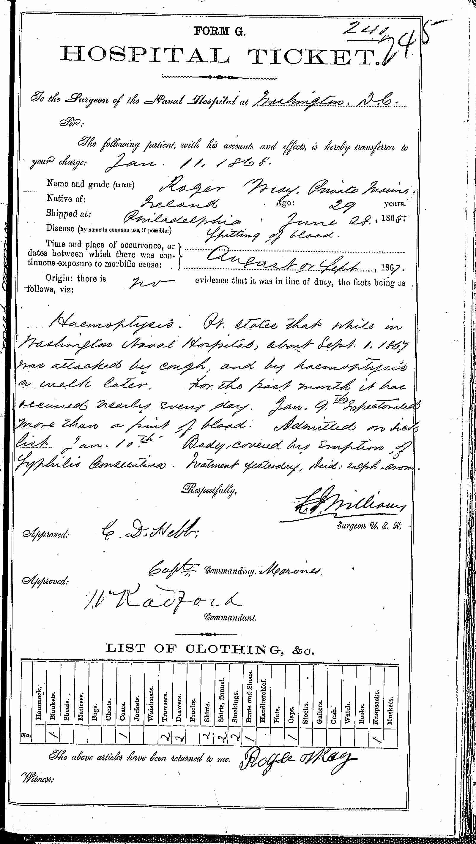 Entry for Rogers Wray (second admission page 1 of 2) in the log Hospital Tickets and Case Papers - Naval Hospital - Washington, D.C. - 1866-68