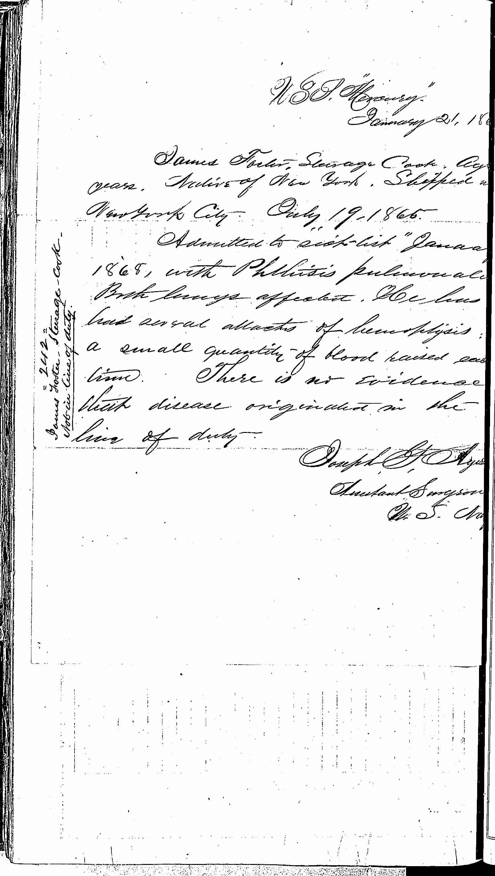 Entry for James Foster (page 2 of 2) in the log Hospital Tickets and Case Papers - Naval Hospital - Washington, D.C. - 1866-68