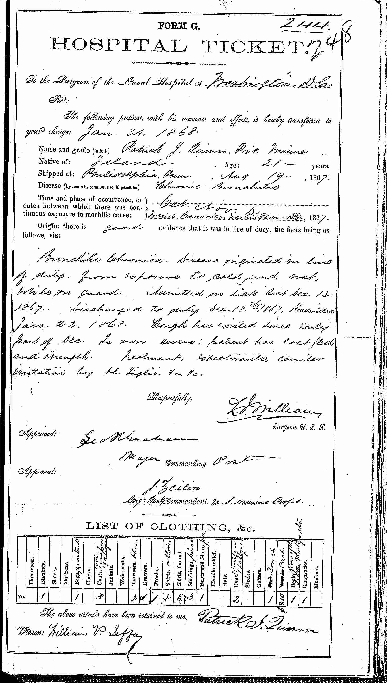 Entry for Patrick J. Quinn (page 1 of 2) in the log Hospital Tickets and Case Papers - Naval Hospital - Washington, D.C. - 1866-68