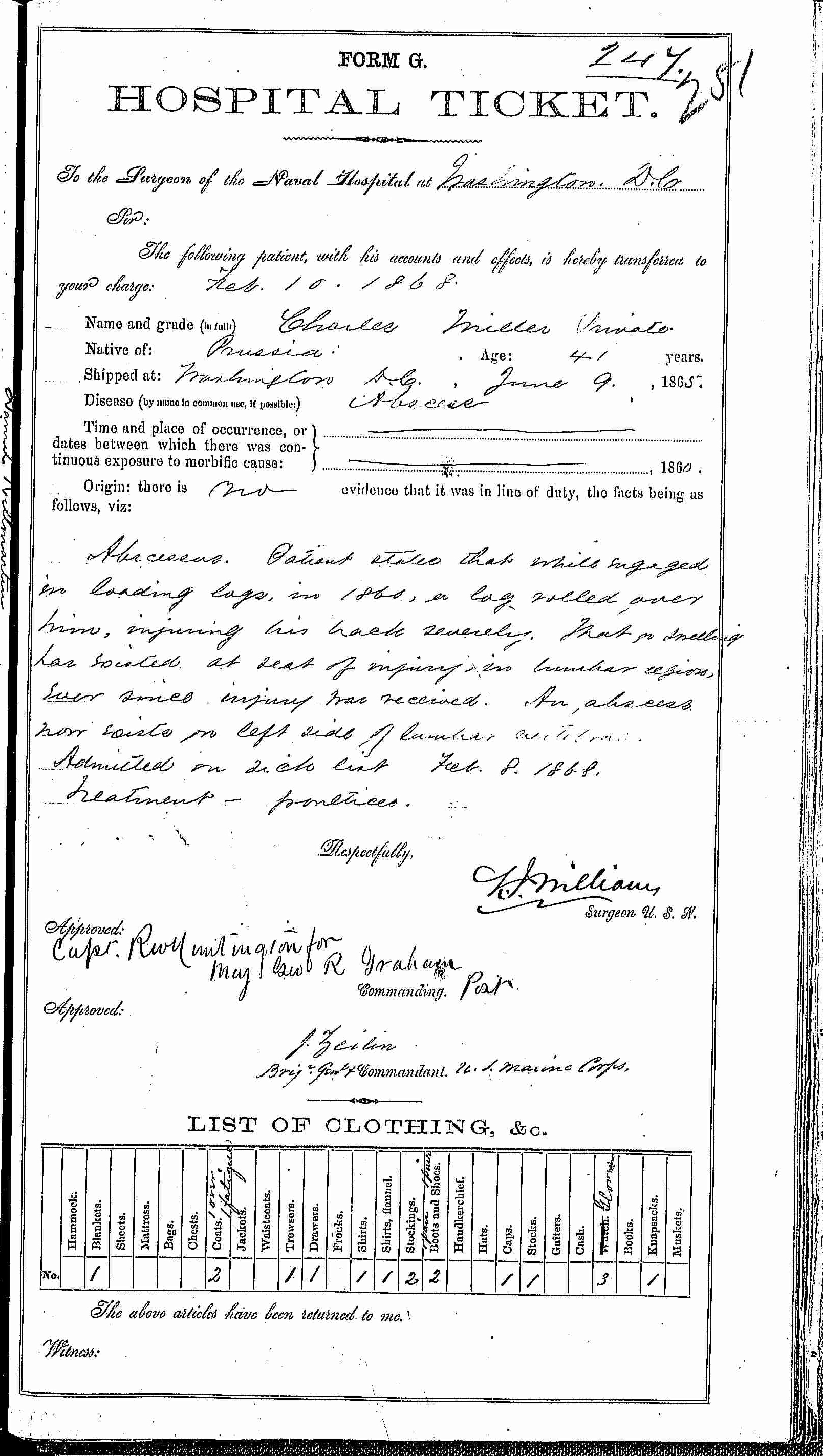 Entry for Charles Miller (page 1 of 2) in the log Hospital Tickets and Case Papers - Naval Hospital - Washington, D.C. - 1866-68