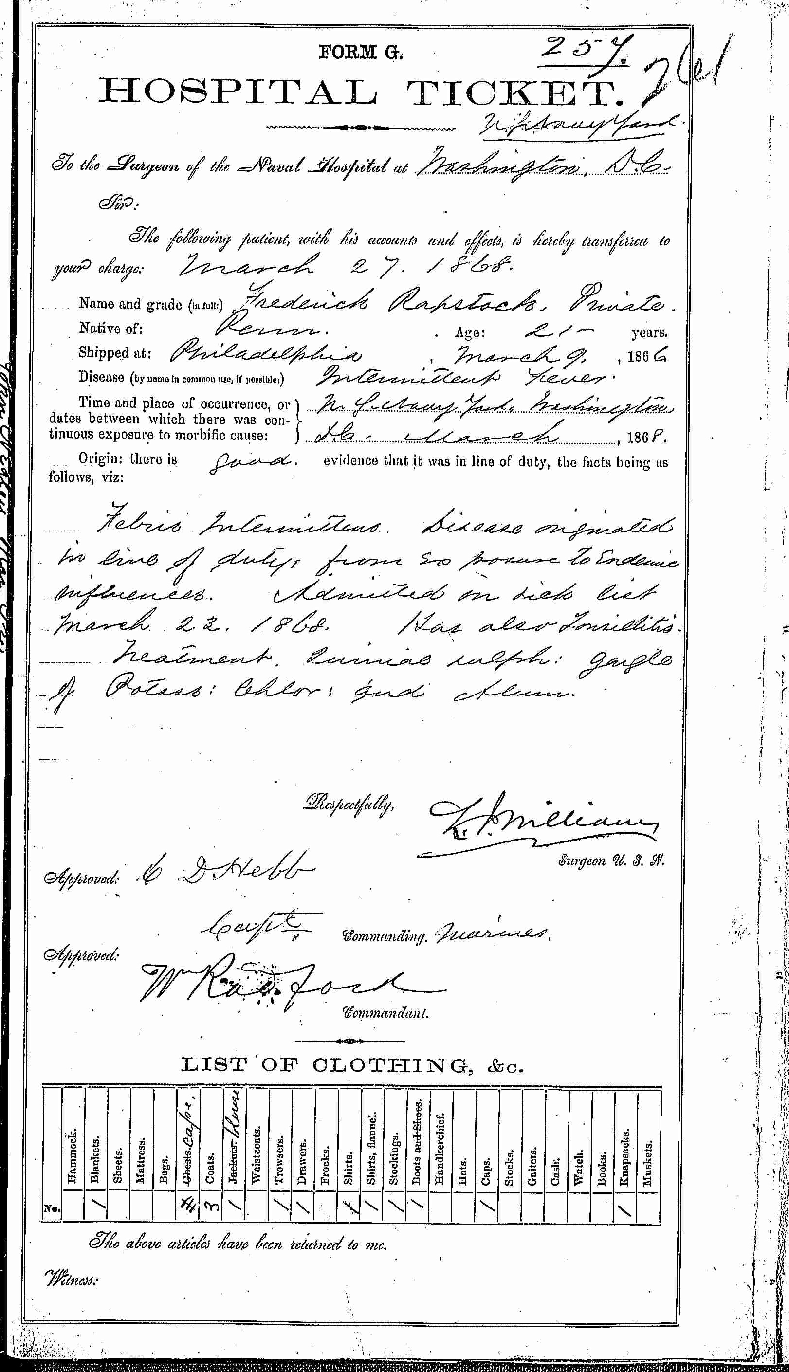 Entry for Frederick Rapstock (second admission page 1 of 2) in the log Hospital Tickets and Case Papers - Naval Hospital - Washington, D.C. - 1866-68