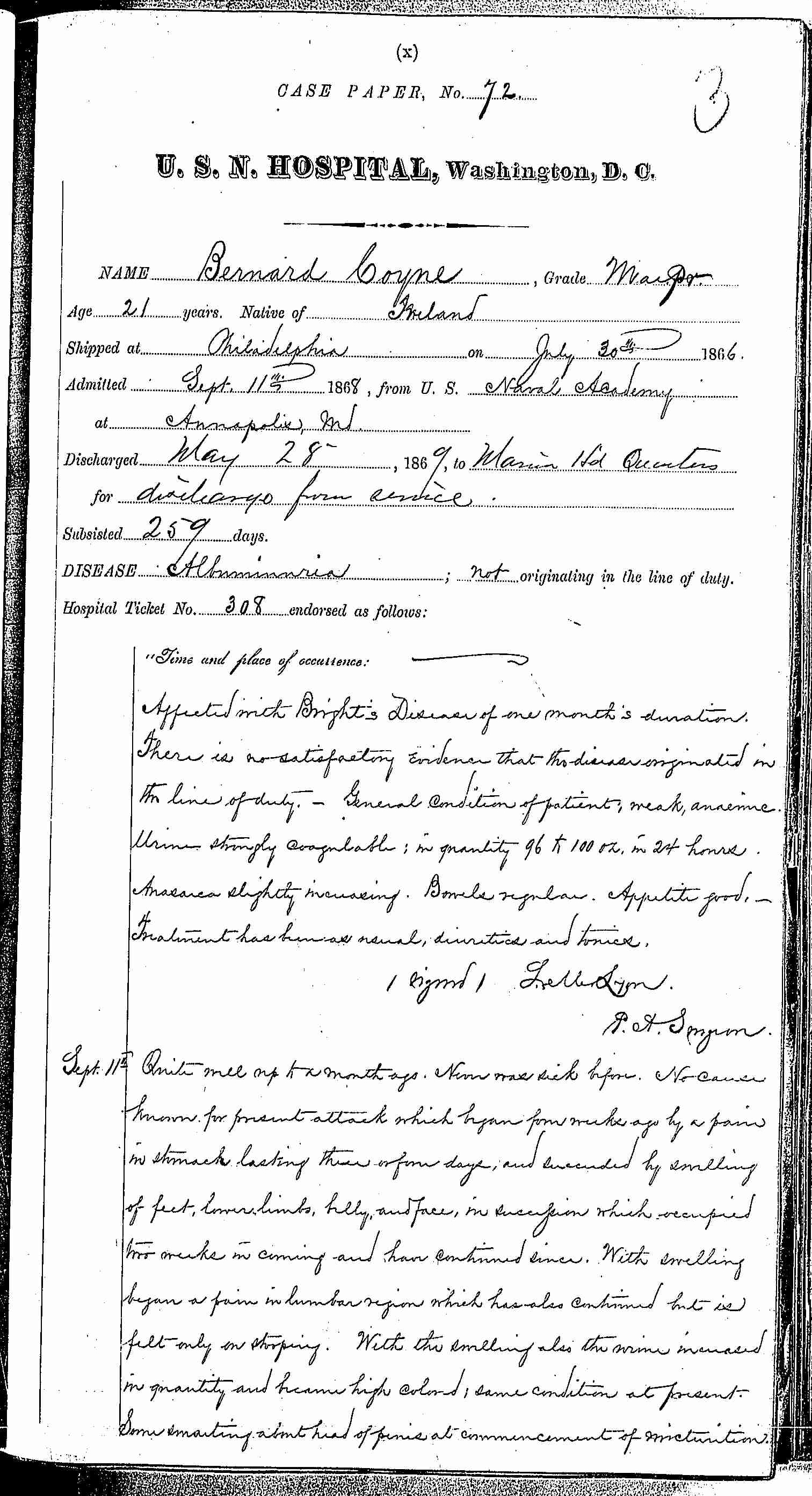 Entry for Bernard Coyne (page 1 of 13) in the log Hospital Tickets and Case Papers - Naval Hospital - Washington, D.C. - 1868-69