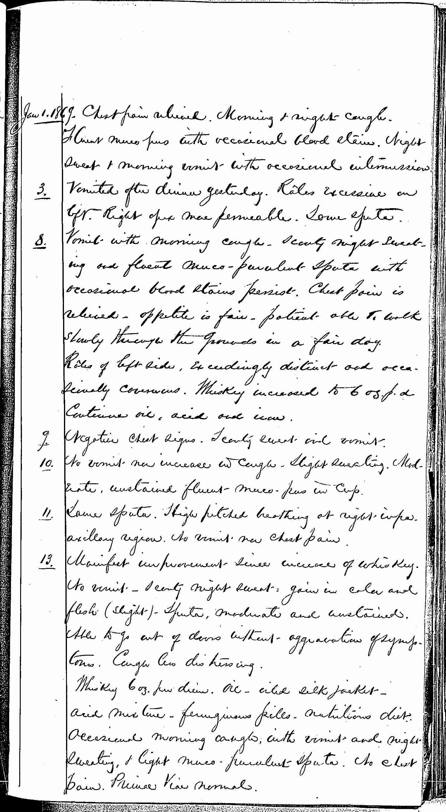 Entry for Hugh Riley (page 21 of 31) in the log Hospital Tickets and Case Papers - Naval Hospital - Washington, D.C. - 1868-69