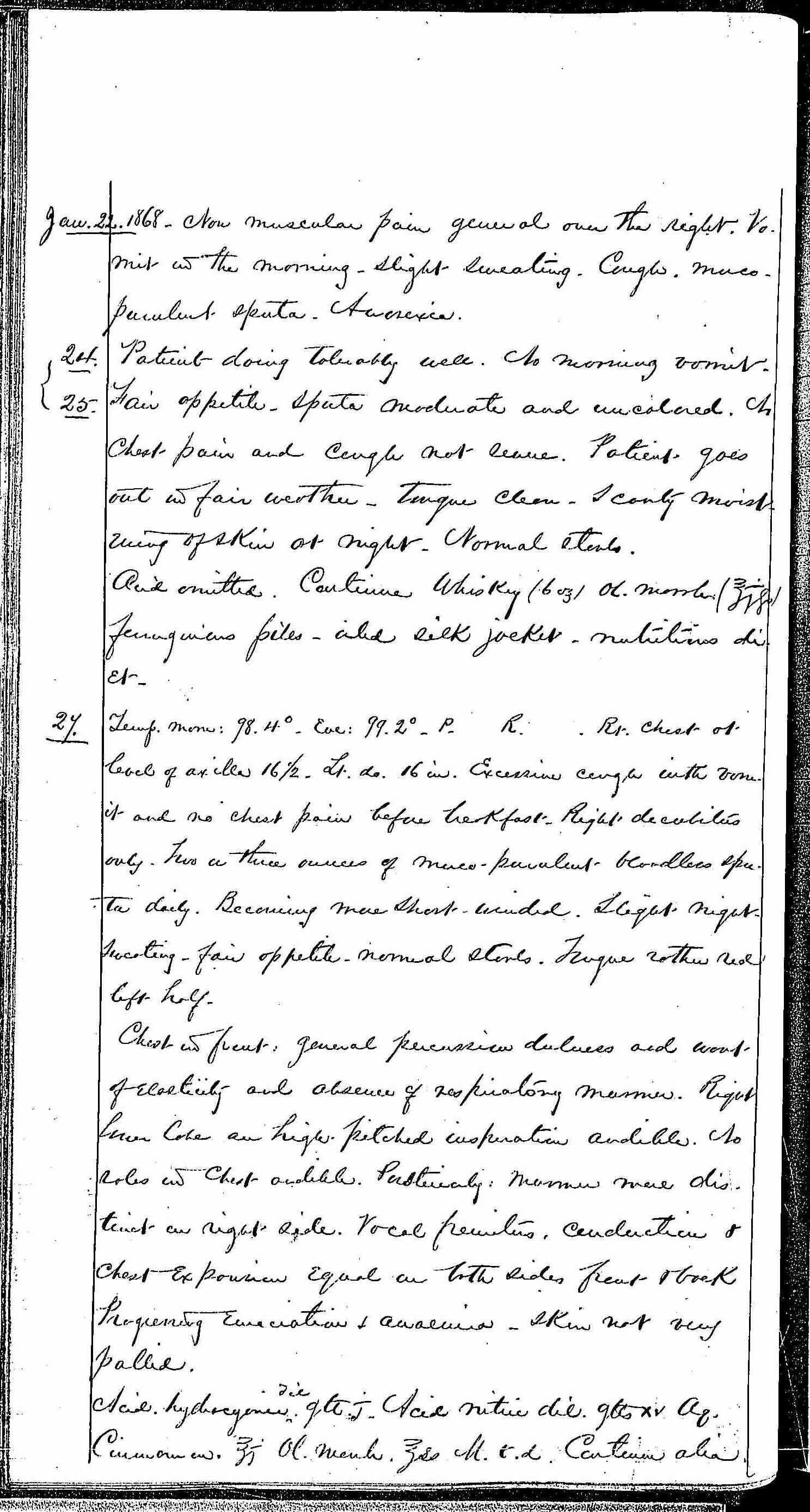 Entry for Hugh Riley (page 22 of 31) in the log Hospital Tickets and Case Papers - Naval Hospital - Washington, D.C. - 1868-69
