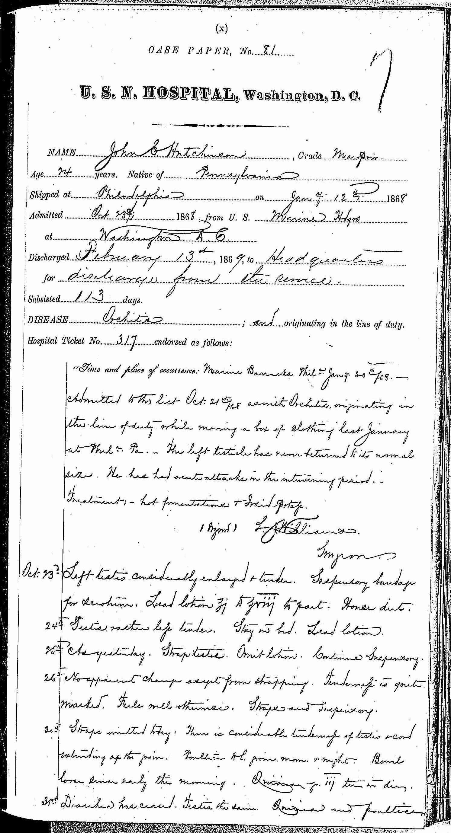 Entry for John C. Hutchinson (page 1 of 4) in the log Hospital Tickets and Case Papers - Naval Hospital - Washington, D.C. - 1868-69