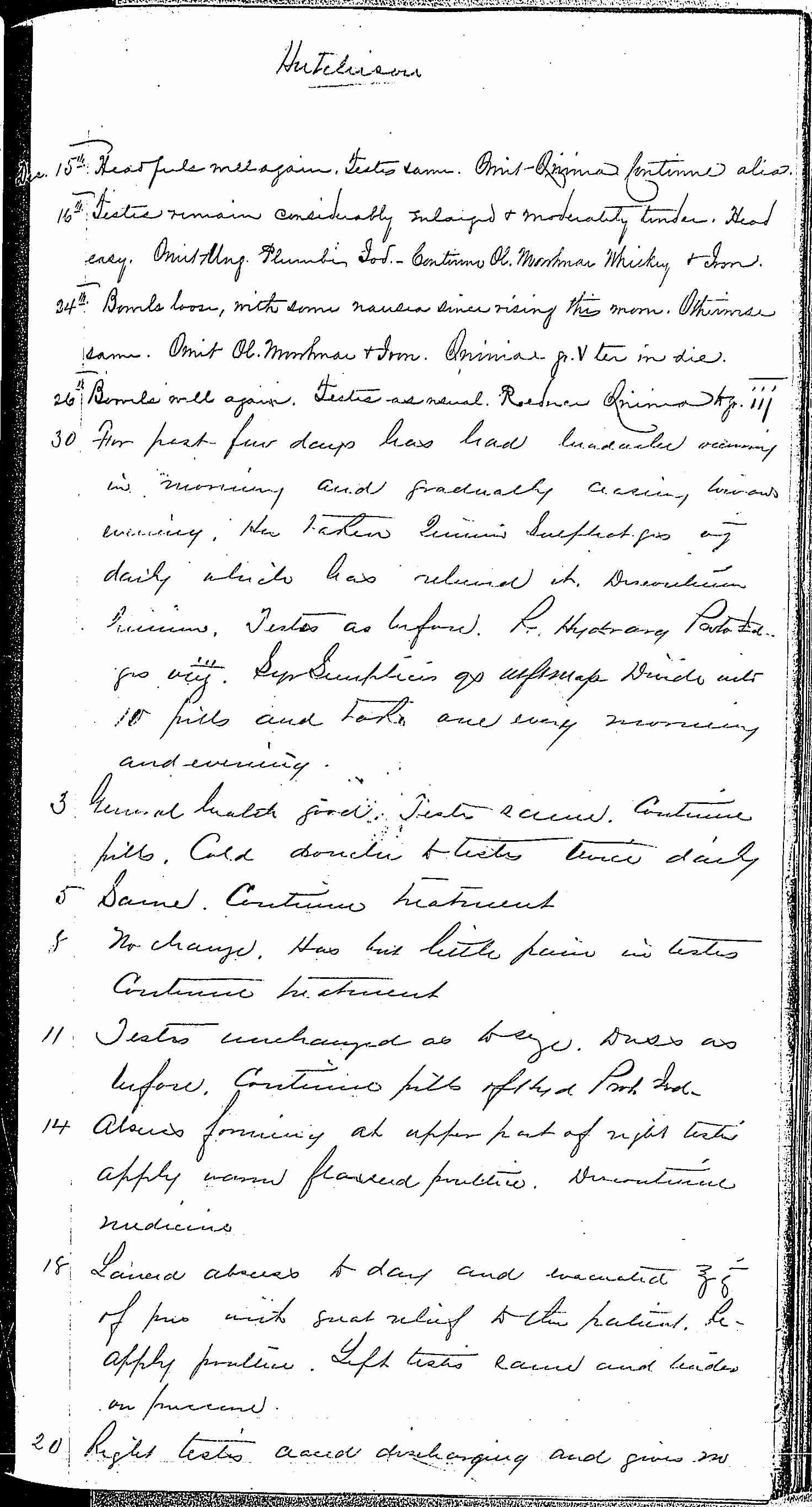 Entry for John C. Hutchinson (page 3 of 4) in the log Hospital Tickets and Case Papers - Naval Hospital - Washington, D.C. - 1868-69