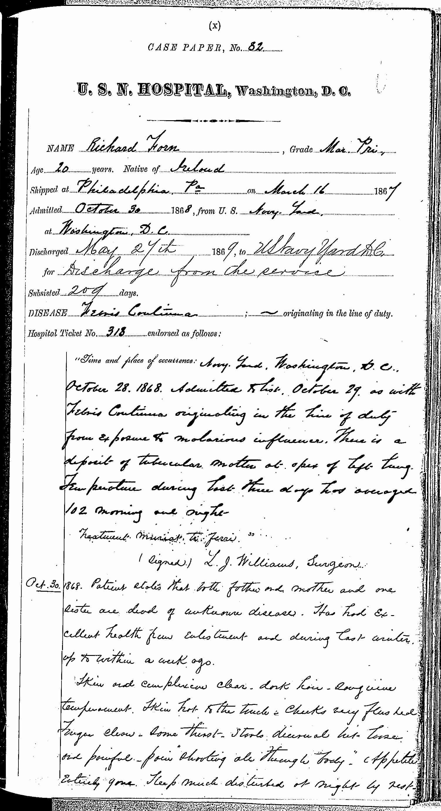 Entry for Richard Forn (page 1 of 21) in the log Hospital Tickets and Case Papers - Naval Hospital - Washington, D.C. - 1868-69