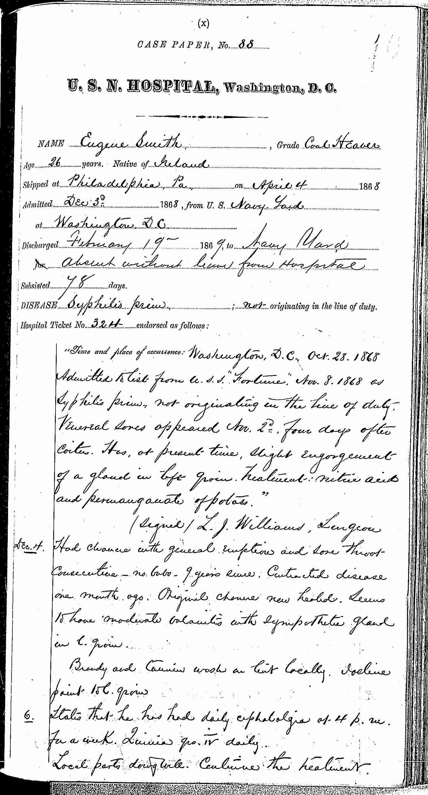 Entry for Eugene Smith (page 1 of 6) in the log Hospital Tickets and Case Papers - Naval Hospital - Washington, D.C. - 1868-69