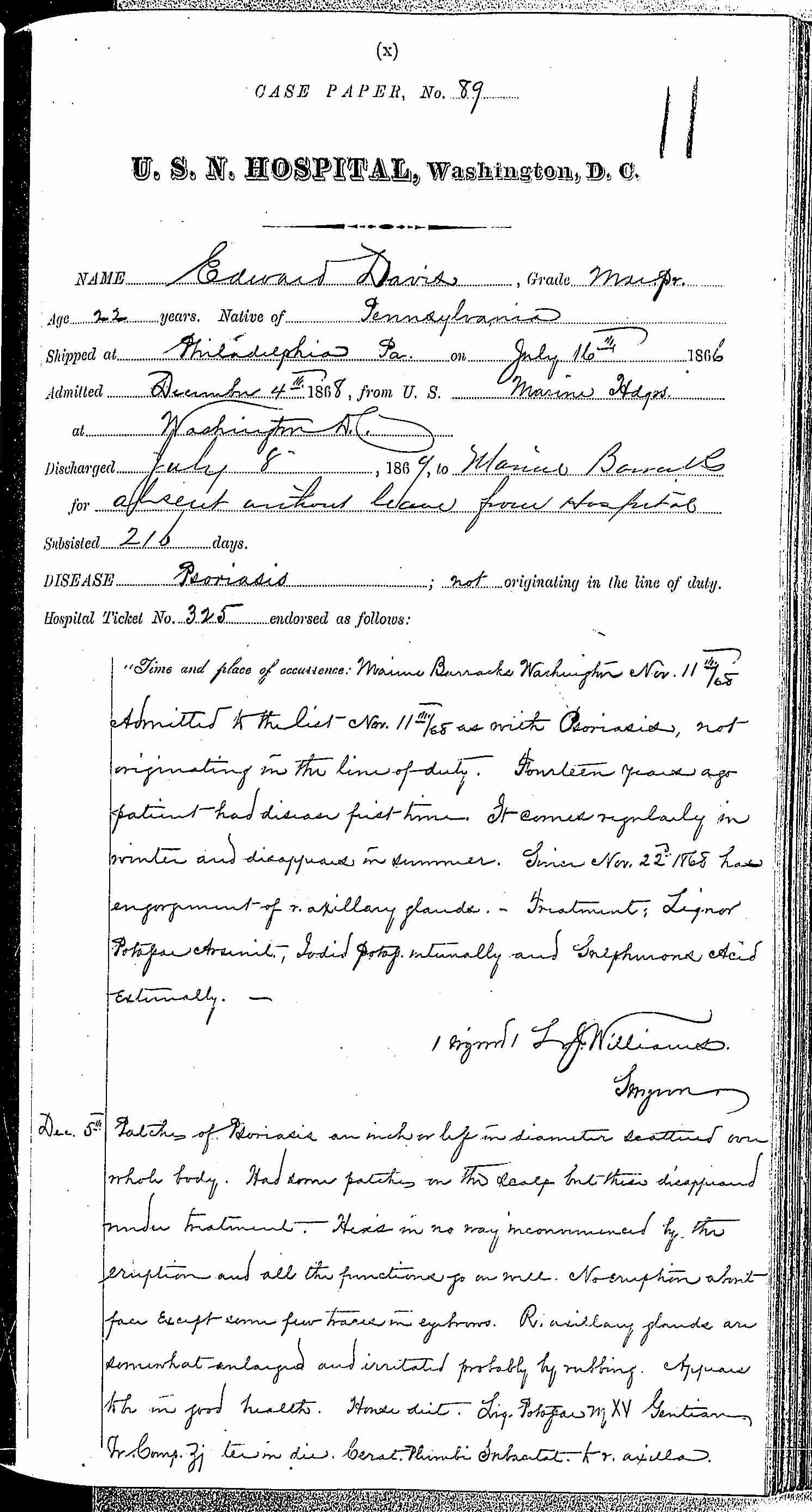 Entry for Edward Davis (page 1 of 6) in the log Hospital Tickets and Case Papers - Naval Hospital - Washington, D.C. - 1868-69