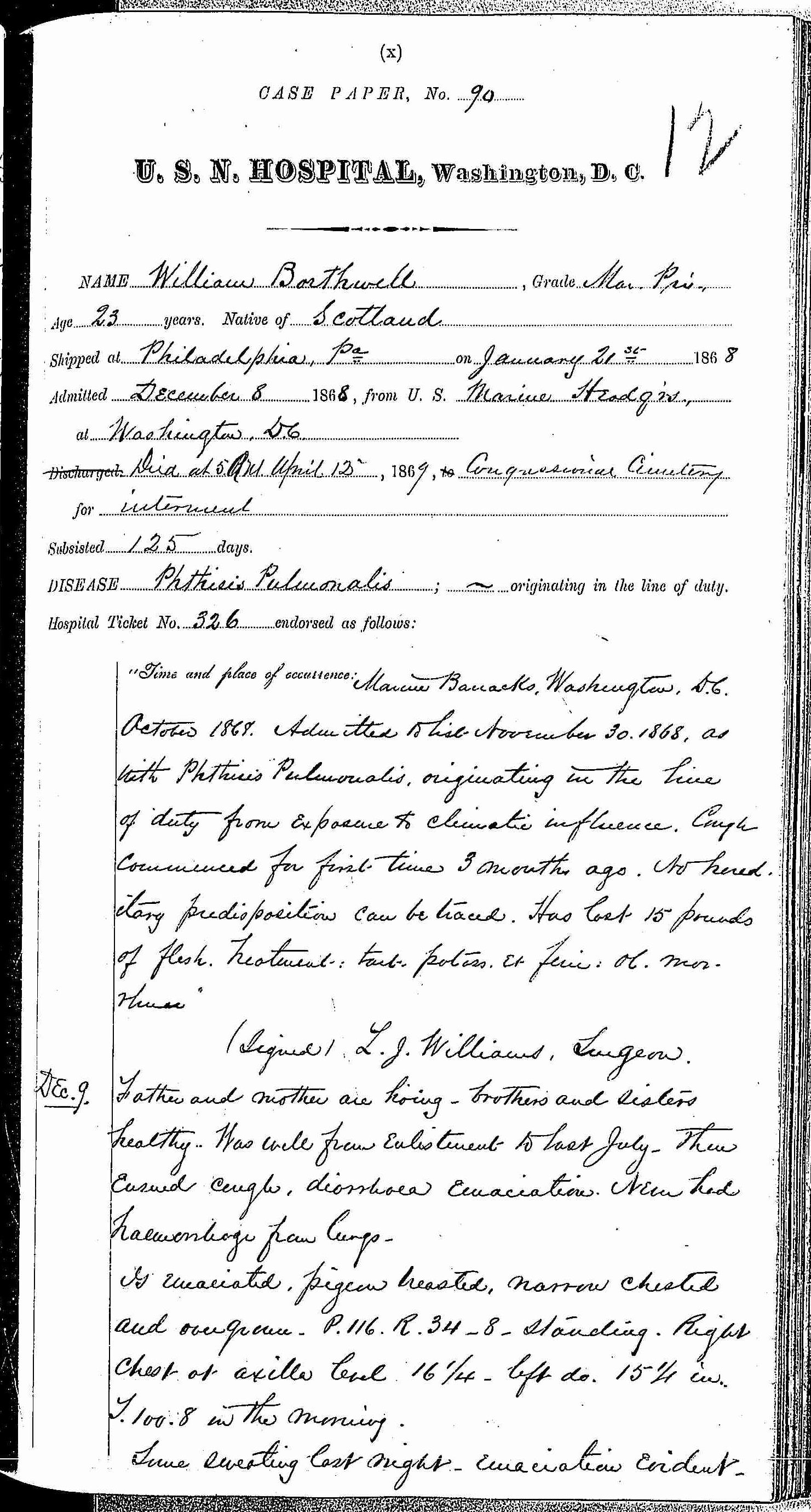 Entry for William Bathwell (page 1 of 13) in the log Hospital Tickets and Case Papers - Naval Hospital - Washington, D.C. - 1868-69