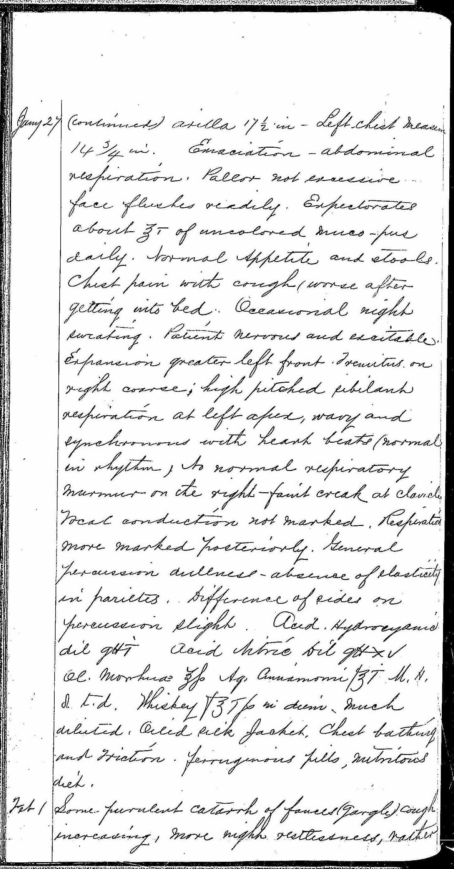 Entry for William Bathwell (page 6 of 13) in the log Hospital Tickets and Case Papers - Naval Hospital - Washington, D.C. - 1868-69