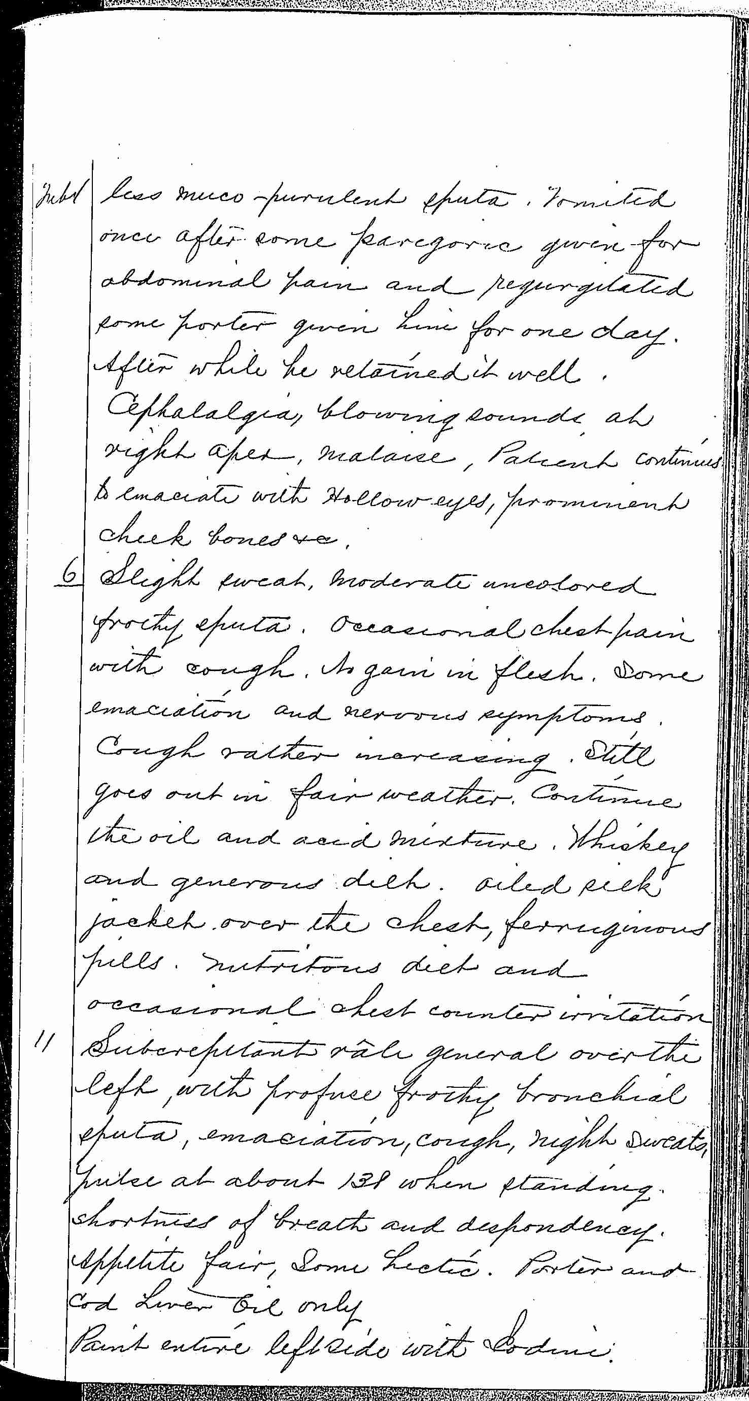 Entry for William Bathwell (page 7 of 13) in the log Hospital Tickets and Case Papers - Naval Hospital - Washington, D.C. - 1868-69