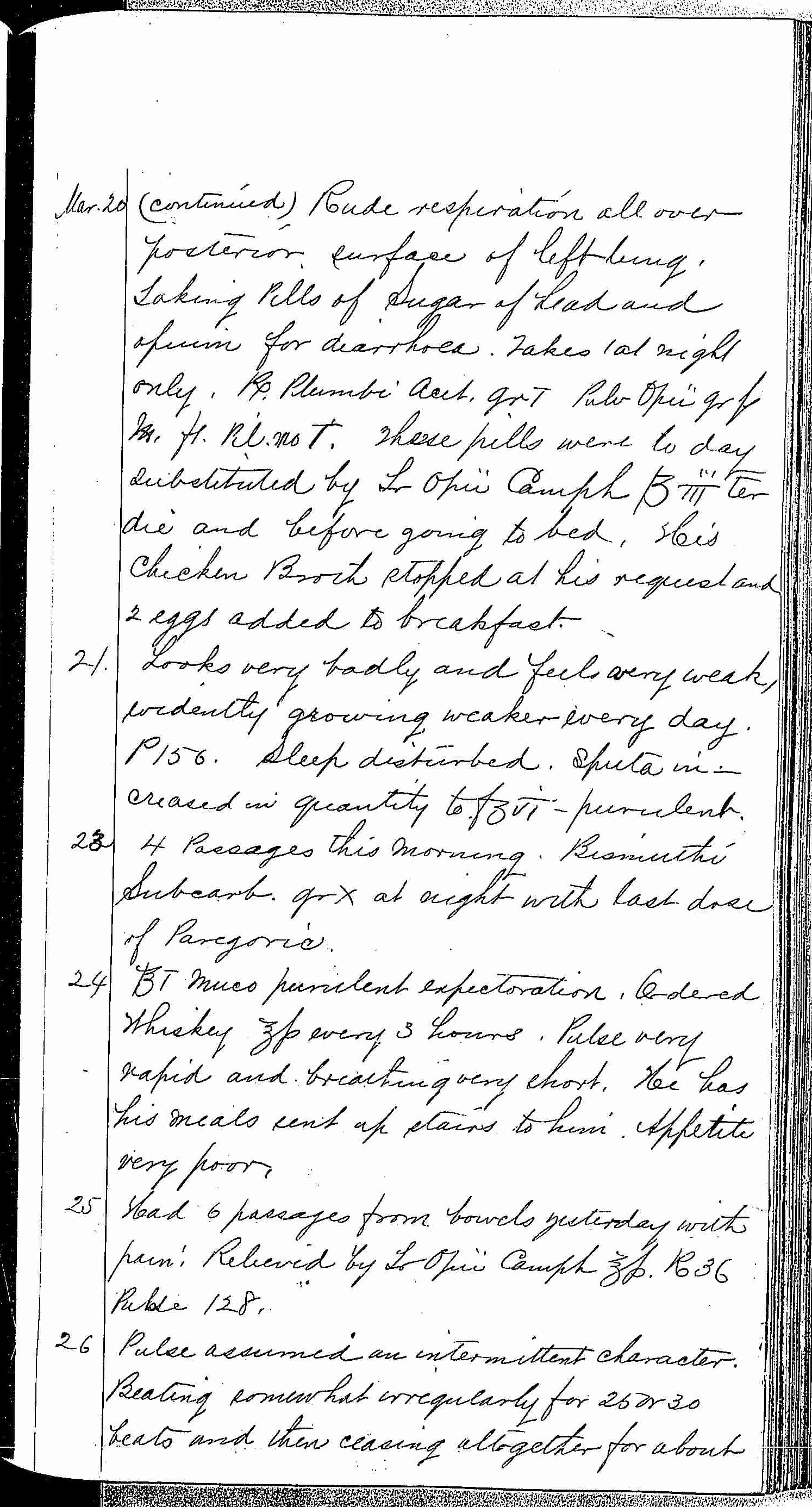 Entry for William Bathwell (page 11 of 13) in the log Hospital Tickets and Case Papers - Naval Hospital - Washington, D.C. - 1868-69