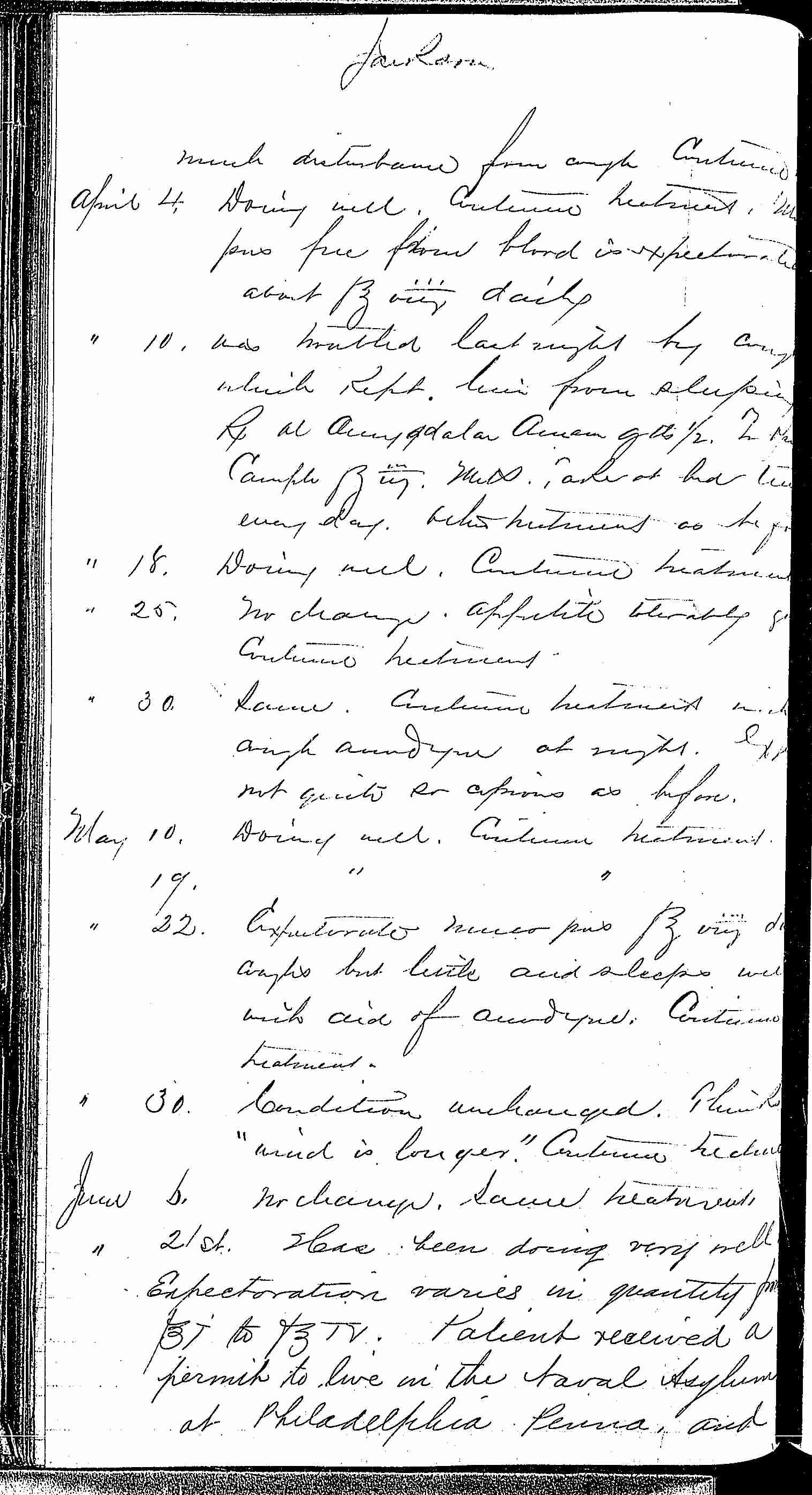 Entry for William Jackson (page 6 of 7) in the log Hospital Tickets and Case Papers - Naval Hospital - Washington, D.C. - 1868-69