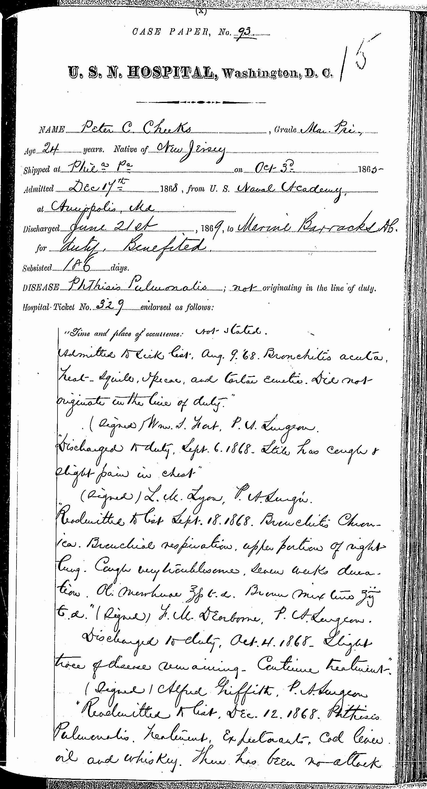 Entry for Peter C. Cheeks (page 1 of 16) in the log Hospital Tickets and Case Papers - Naval Hospital - Washington, D.C. - 1868-69