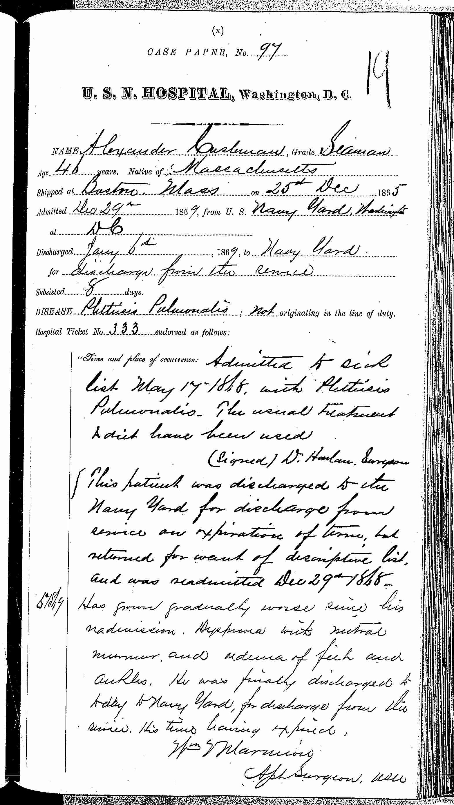 Entry for Charles Wyatt (page 1 of 1) in the log Hospital Tickets and Case Papers - Naval Hospital - Washington, D.C. - 1868-69