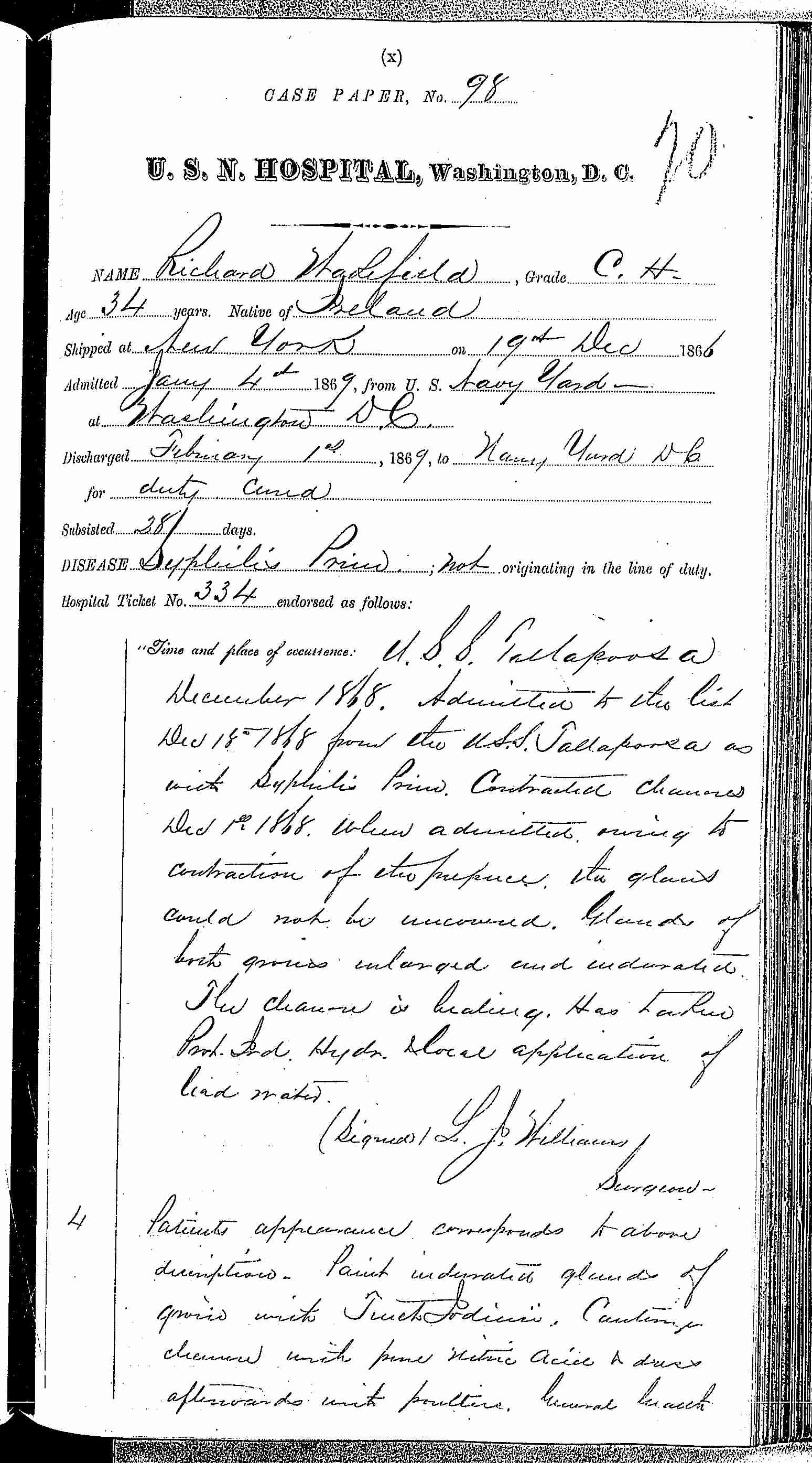 Entry for Richard Wakefield (page 1 of 3) in the log Hospital Tickets and Case Papers - Naval Hospital - Washington, D.C. - 1868-69