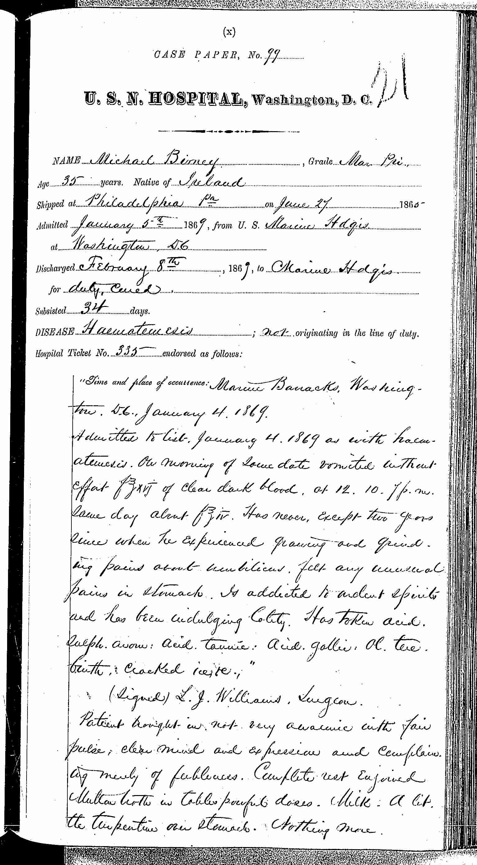Entry for Michael Birney (page 1 of 3) in the log Hospital Tickets and Case Papers - Naval Hospital - Washington, D.C. - 1868-69