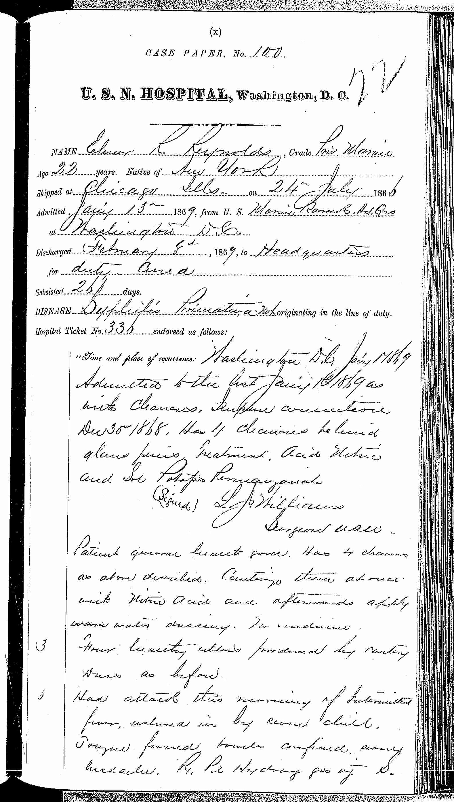 Entry for E. R. Reynolds (page 1 of 2) in the log Hospital Tickets and Case Papers - Naval Hospital - Washington, D.C. - 1868-69