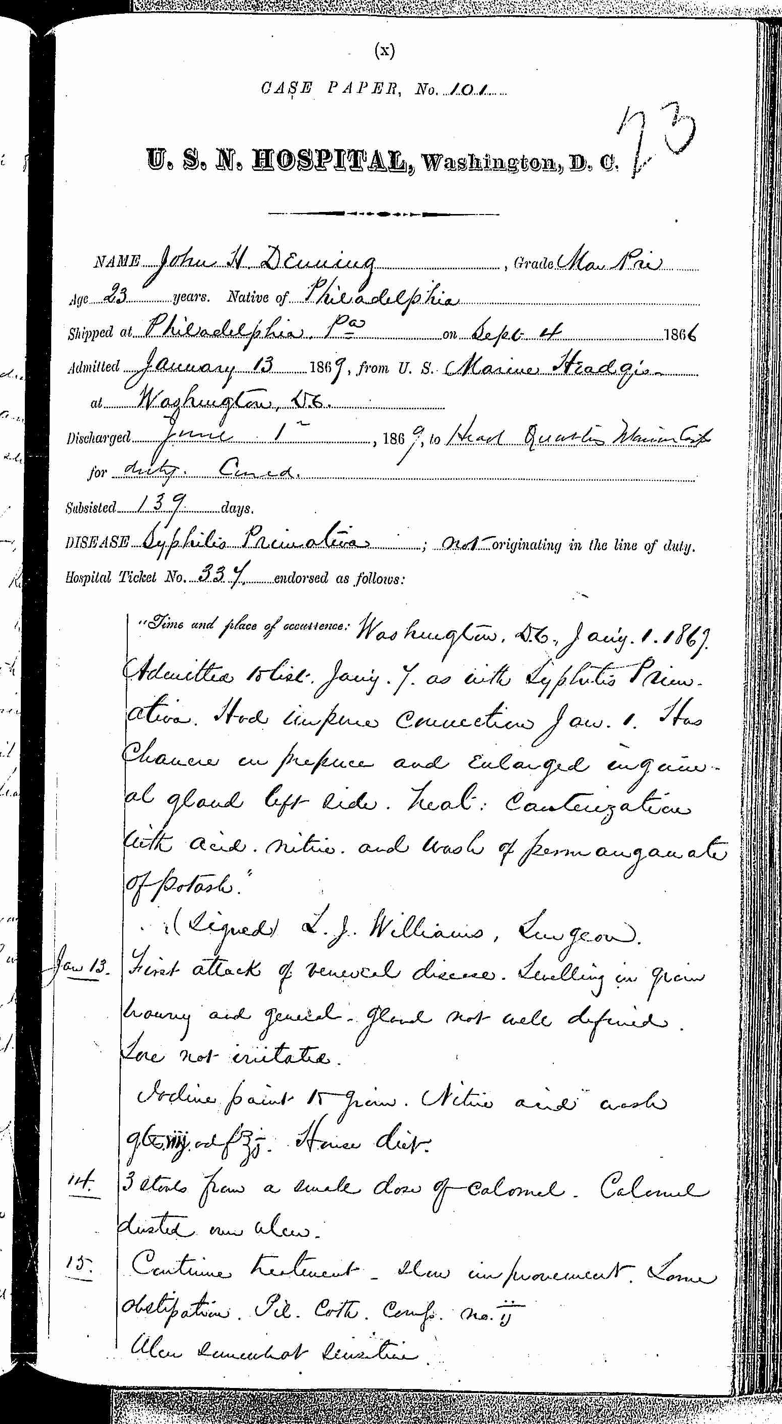 Entry for John H. Denning (first admission page 1 of 9) in the log Hospital Tickets and Case Papers - Naval Hospital - Washington, D.C. - 1868-69