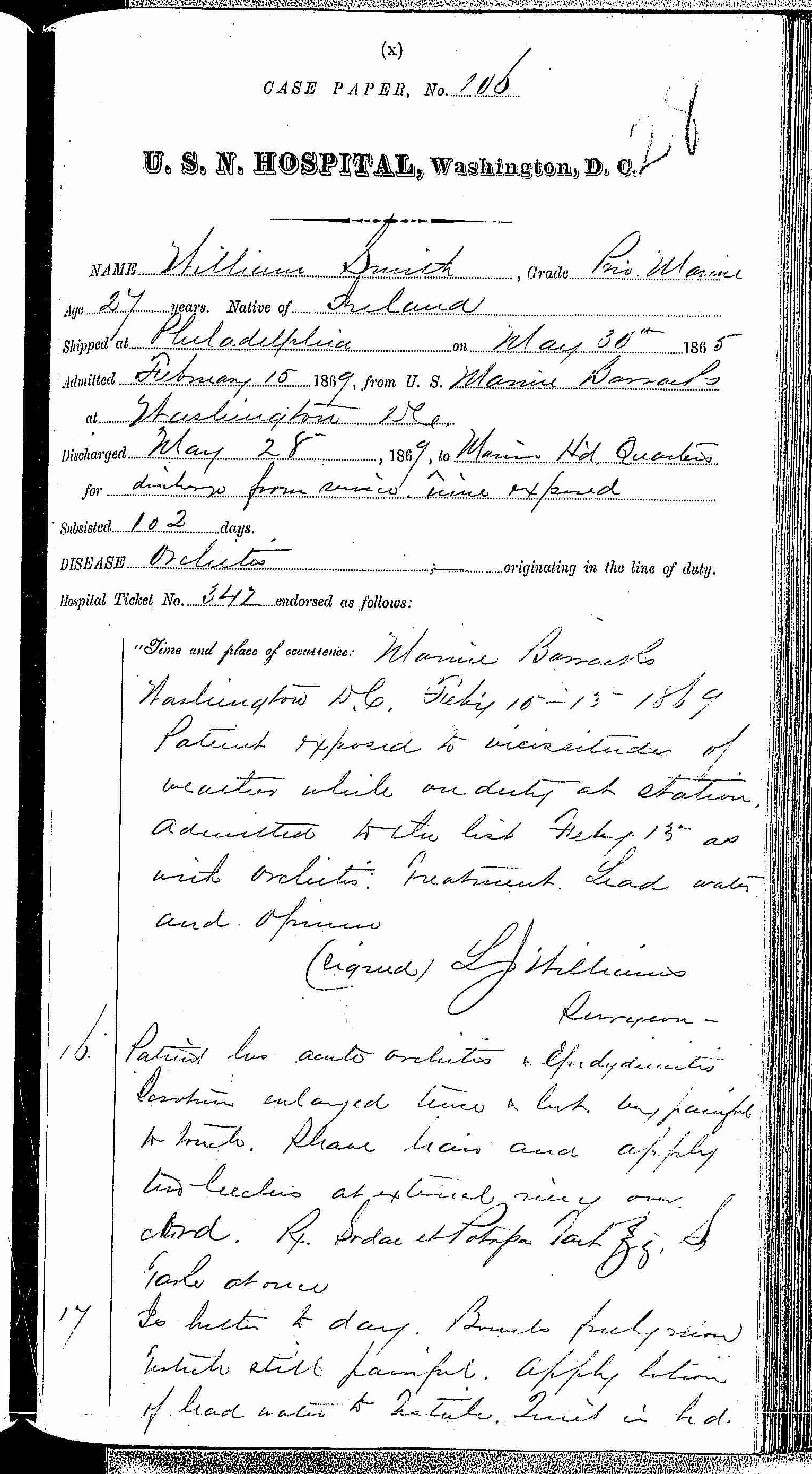 Entry for William Smith (page 1 of 3) in the log Hospital Tickets and Case Papers - Naval Hospital - Washington, D.C. - 1868-69