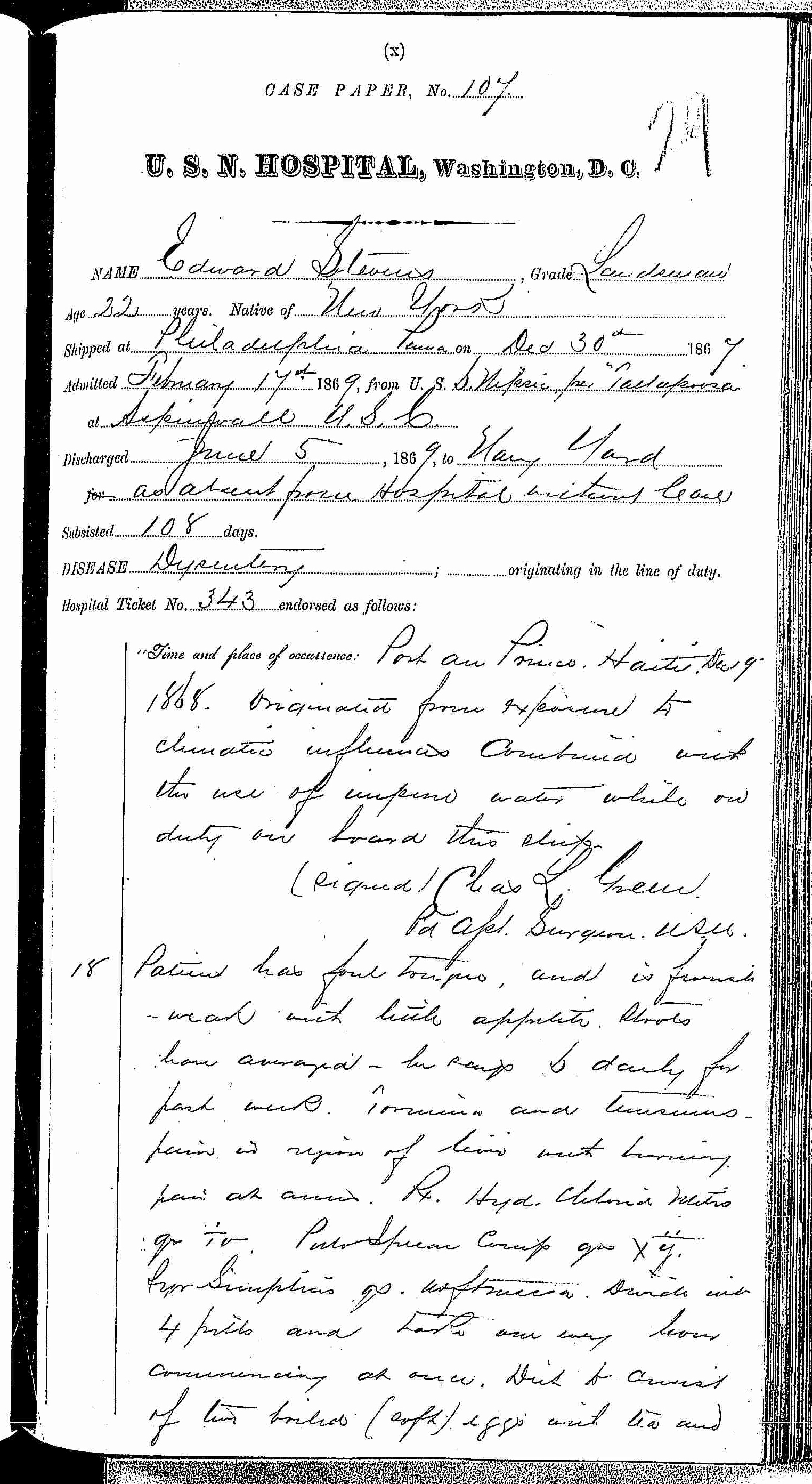 Entry for Edward Stevens (page 1 of 5) in the log Hospital Tickets and Case Papers - Naval Hospital - Washington, D.C. - 1868-69