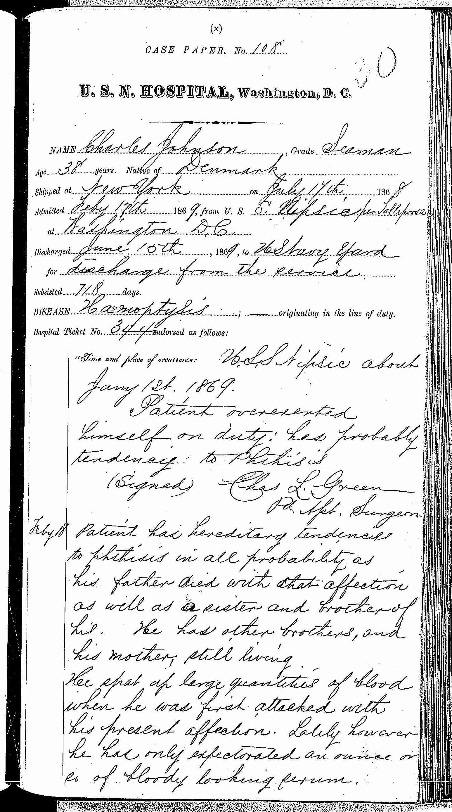 Entry for Charles Johnson (page 1 of 15) in the log Hospital Tickets and Case Papers - Naval Hospital - Washington, D.C. - 1868-69