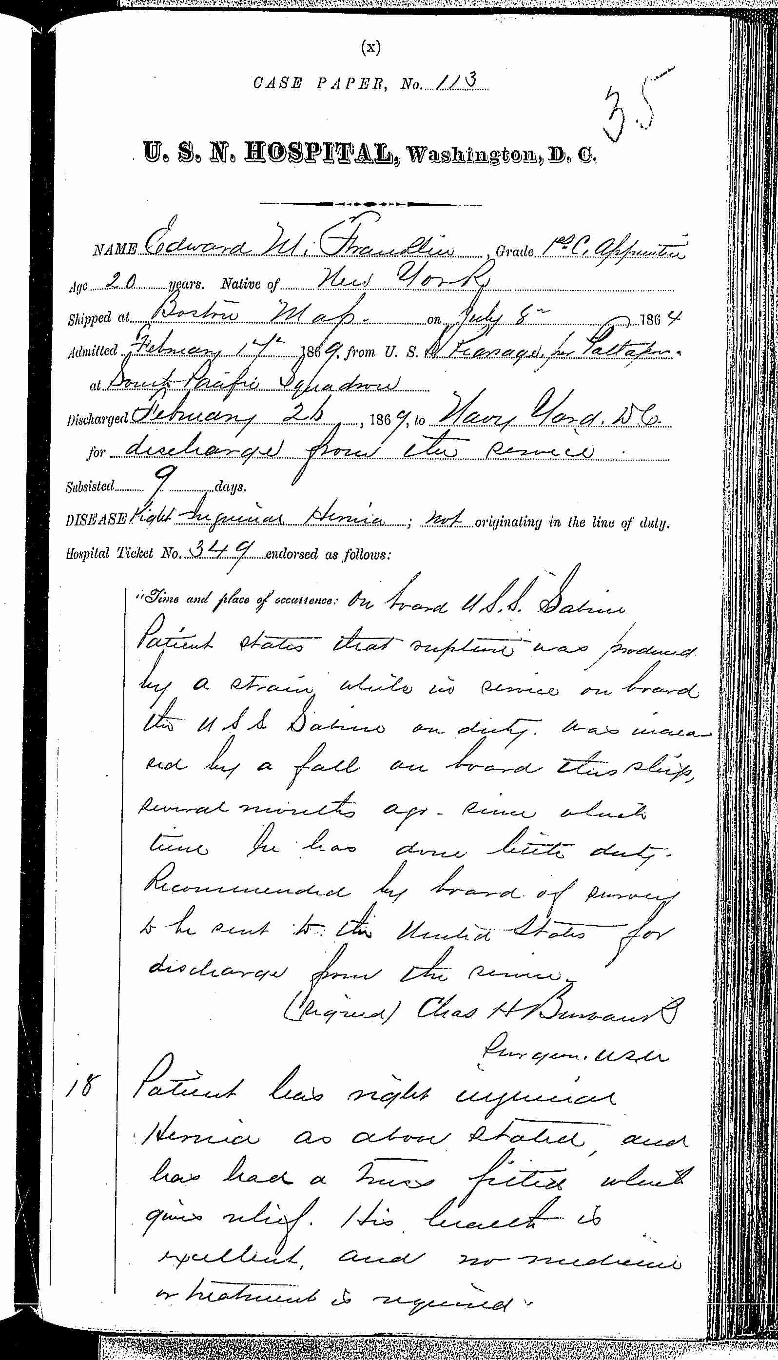 Entry for Edward W. Franklin (page 1 of 2) in the log Hospital Tickets and Case Papers - Naval Hospital - Washington, D.C. - 1868-69