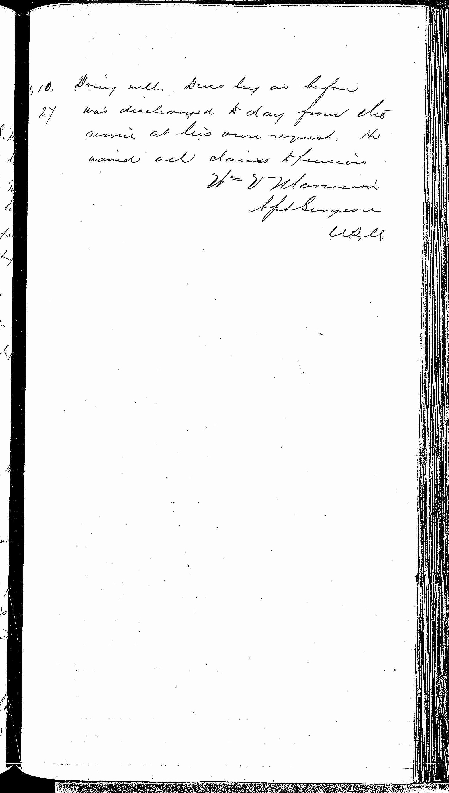 Entry for Joseph Poiler (page 3 of 3) in the log Hospital Tickets and Case Papers - Naval Hospital - Washington, D.C. - 1868-69
