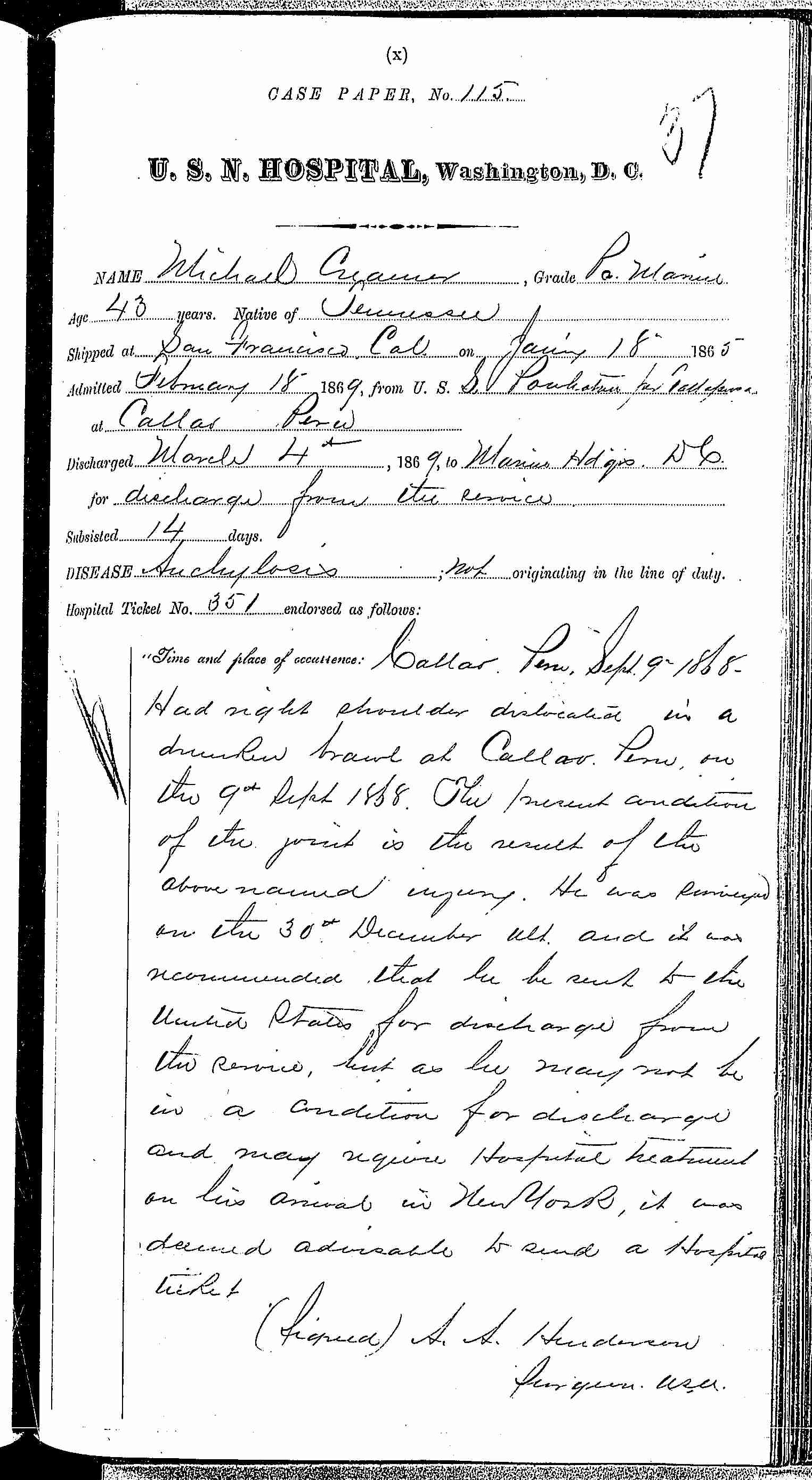 Entry for Michael Craemer (page 1 of 2) in the log Hospital Tickets and Case Papers - Naval Hospital - Washington, D.C. - 1868-69
