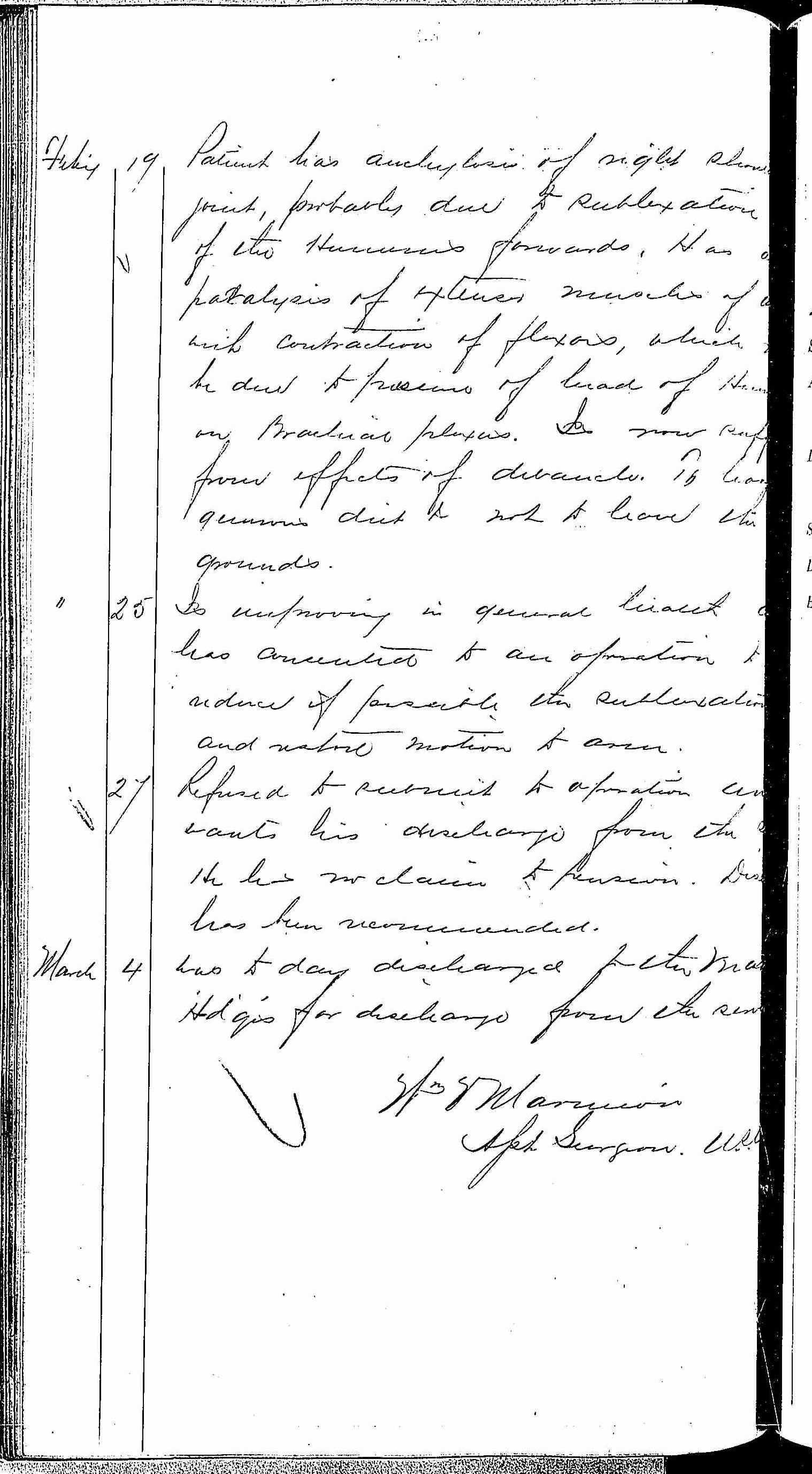 Entry for Michael Craemer (page 2 of 2) in the log Hospital Tickets and Case Papers - Naval Hospital - Washington, D.C. - 1868-69