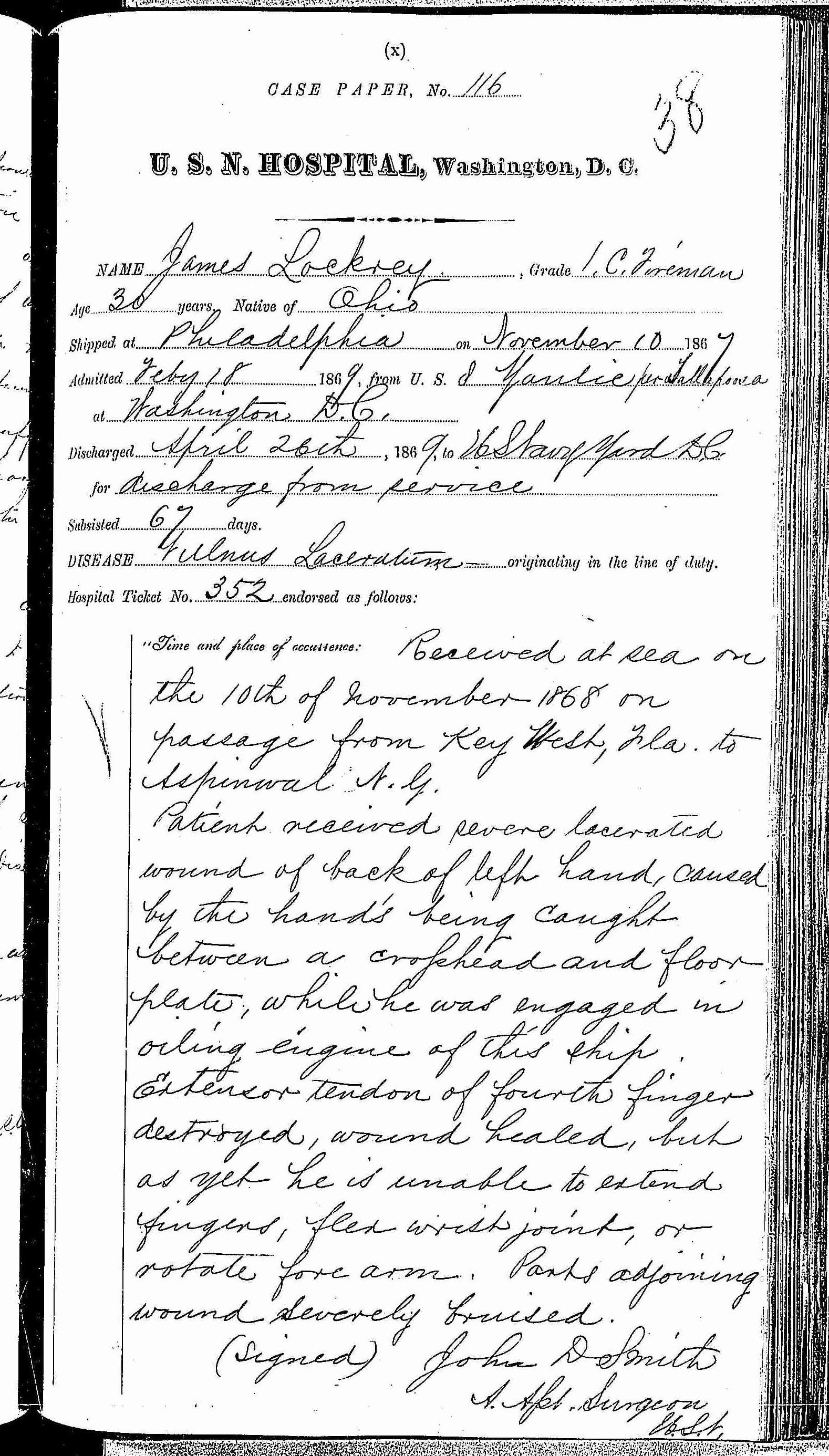 Entry for James Lockrey (page 1 of 5) in the log Hospital Tickets and Case Papers - Naval Hospital - Washington, D.C. - 1868-69