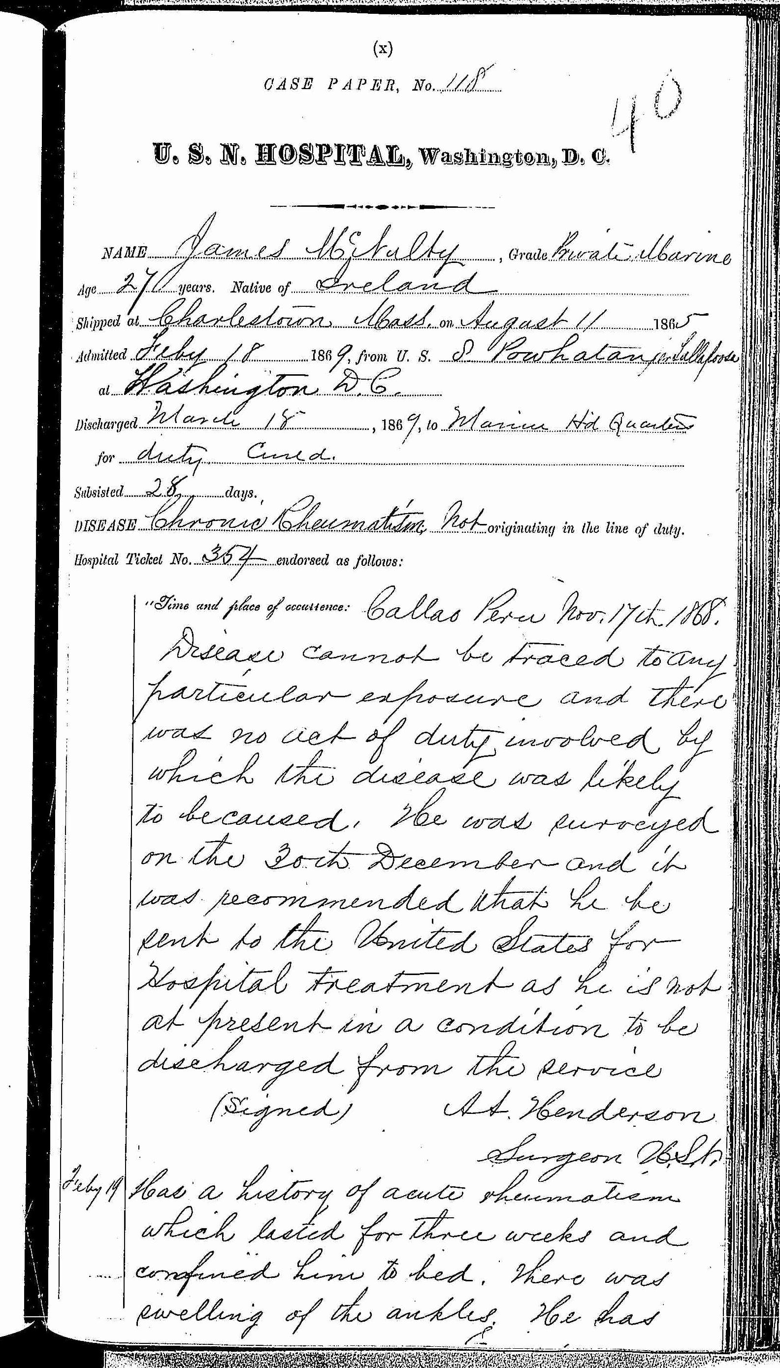 Entry for James McNalty (page 1 of 3) in the log Hospital Tickets and Case Papers - Naval Hospital - Washington, D.C. - 1868-69