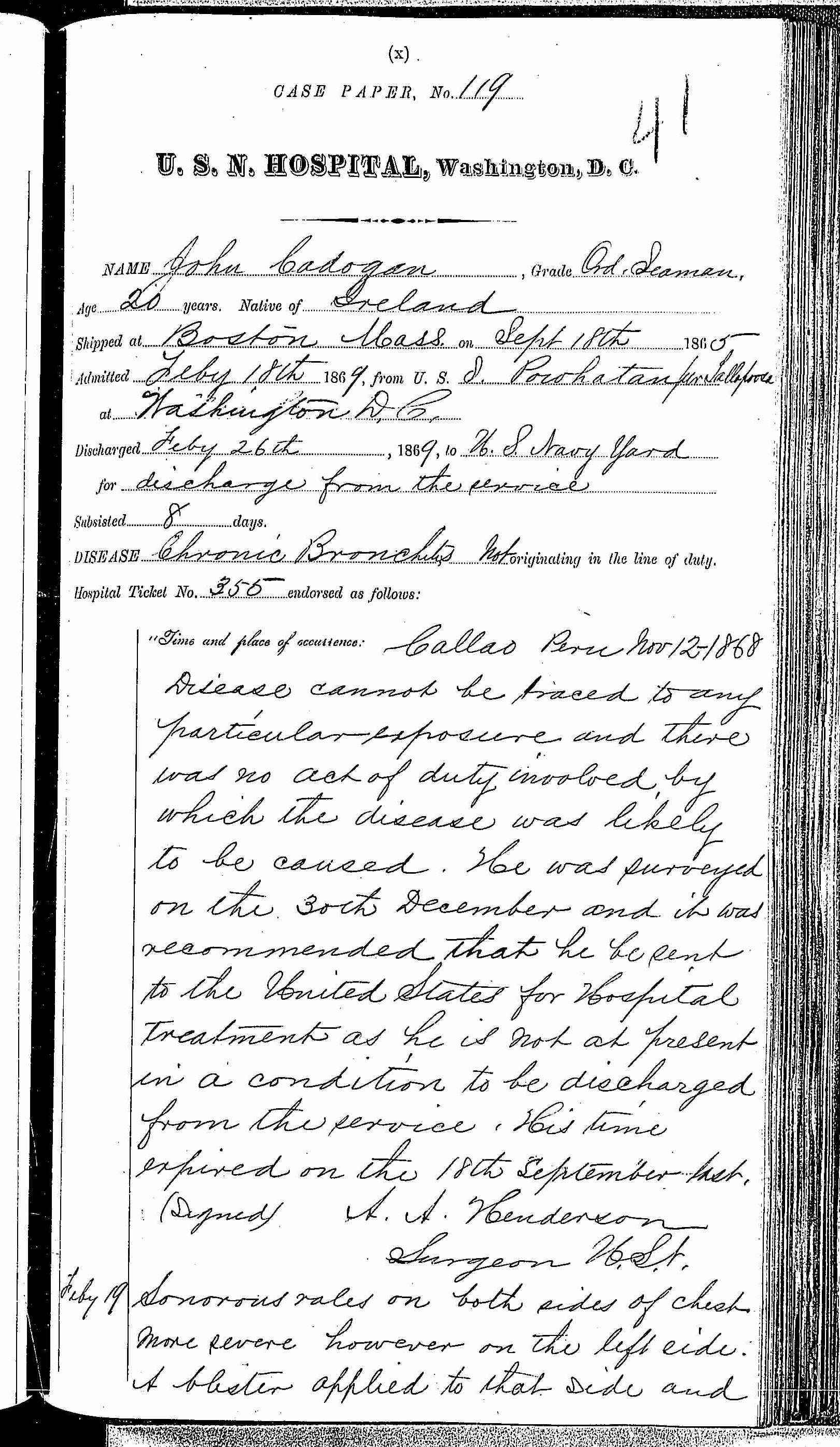 Entry for John Cadogan (page 1 of 3) in the log Hospital Tickets and Case Papers - Naval Hospital - Washington, D.C. - 1868-69