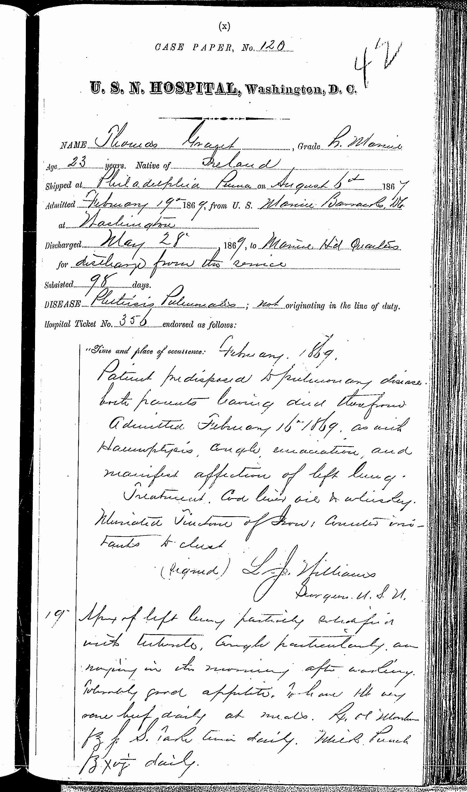 Entry for Thomas Grant (page 1 of 4) in the log Hospital Tickets and Case Papers - Naval Hospital - Washington, D.C. - 1868-69