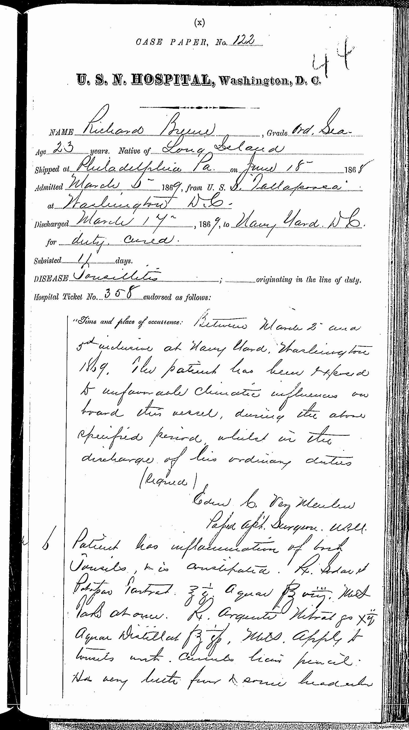 Entry for Richard Breene (page 1 of 2) in the log Hospital Tickets and Case Papers - Naval Hospital - Washington, D.C. - 1868-69