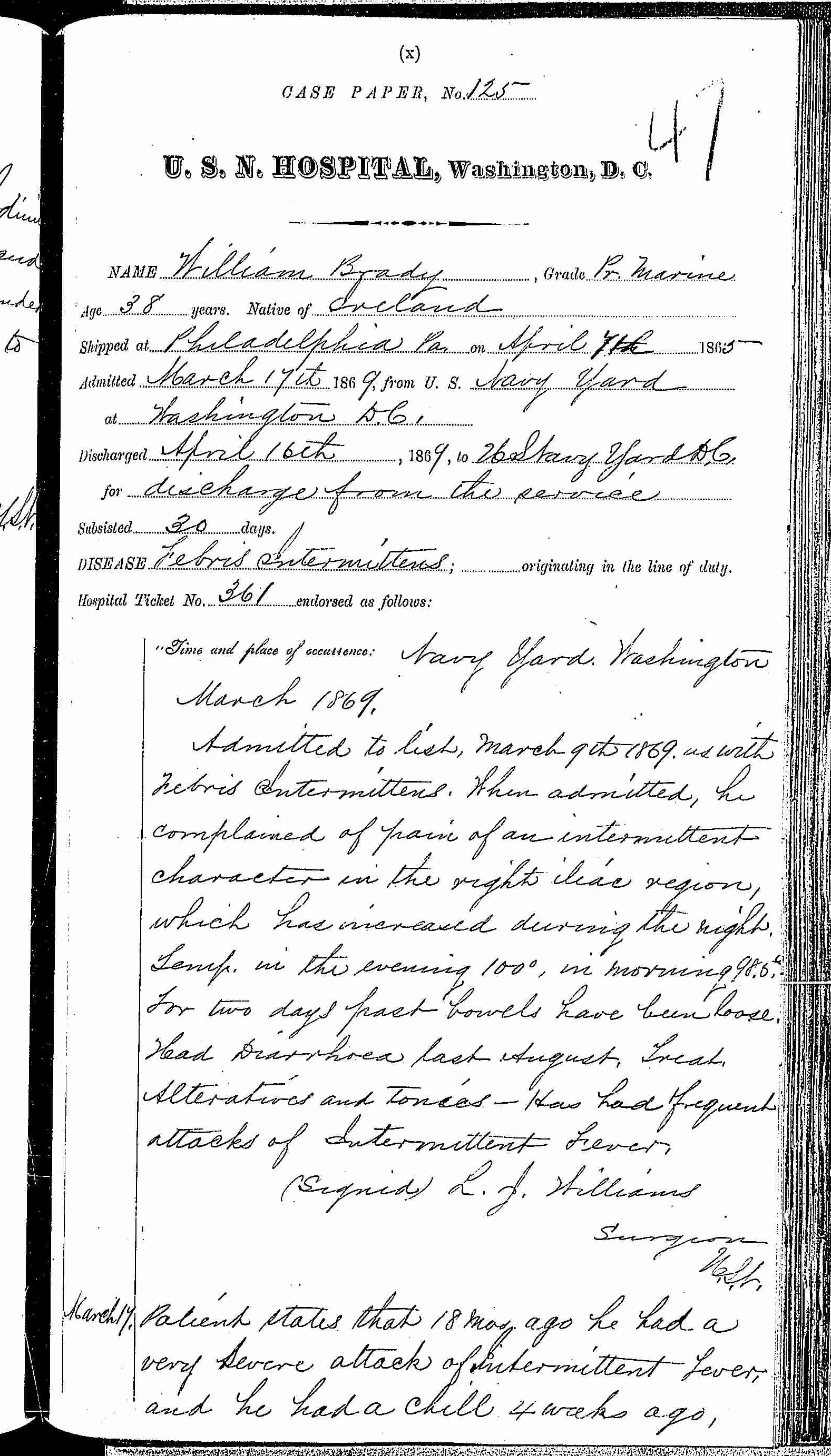 Entry for William Brady (page 1 of 5) in the log Hospital Tickets and Case Papers - Naval Hospital - Washington, D.C. - 1868-69