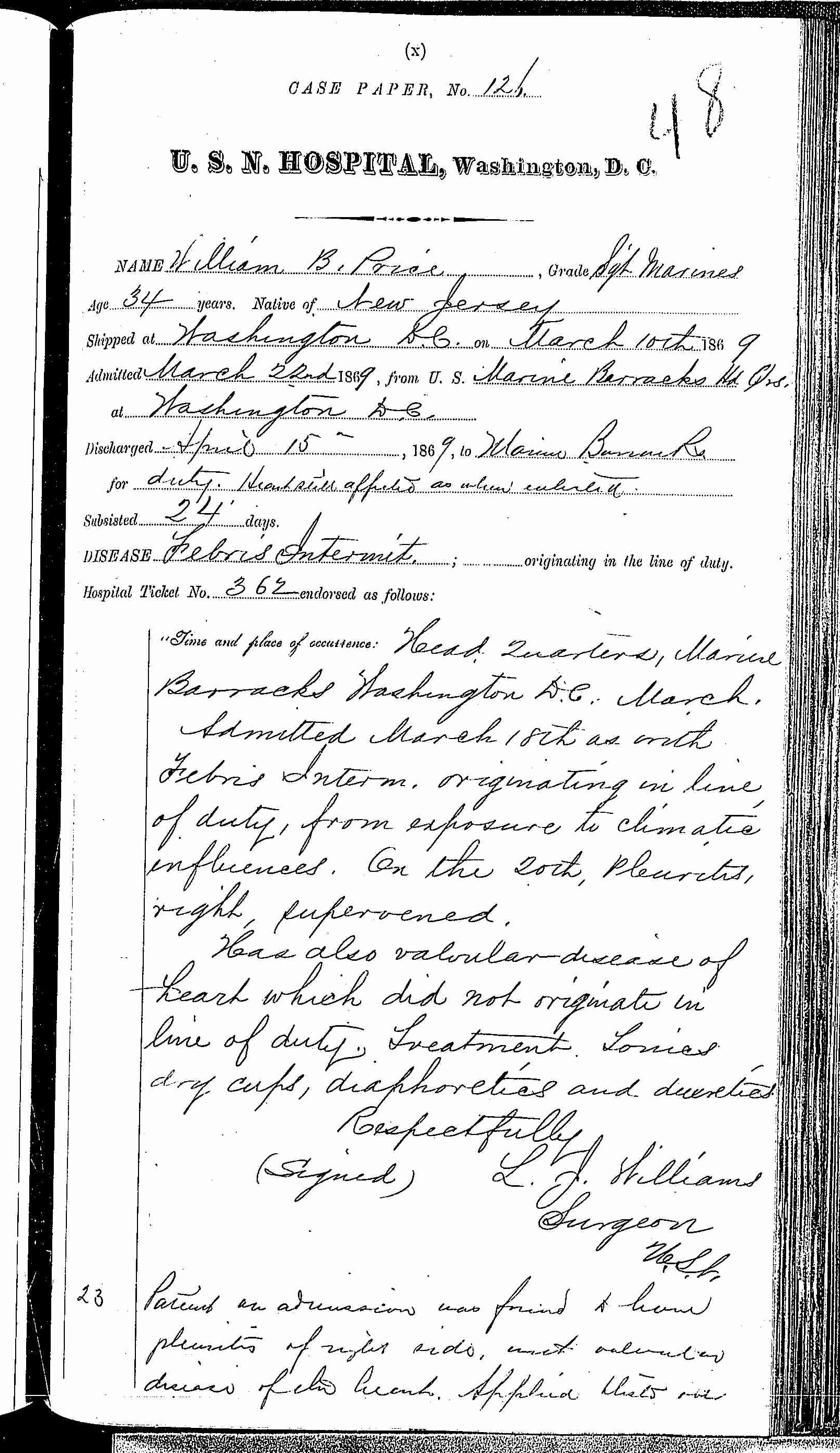 Entry for William B. Price (page 1 of 3) in the log Hospital Tickets and Case Papers - Naval Hospital - Washington, D.C. - 1868-69