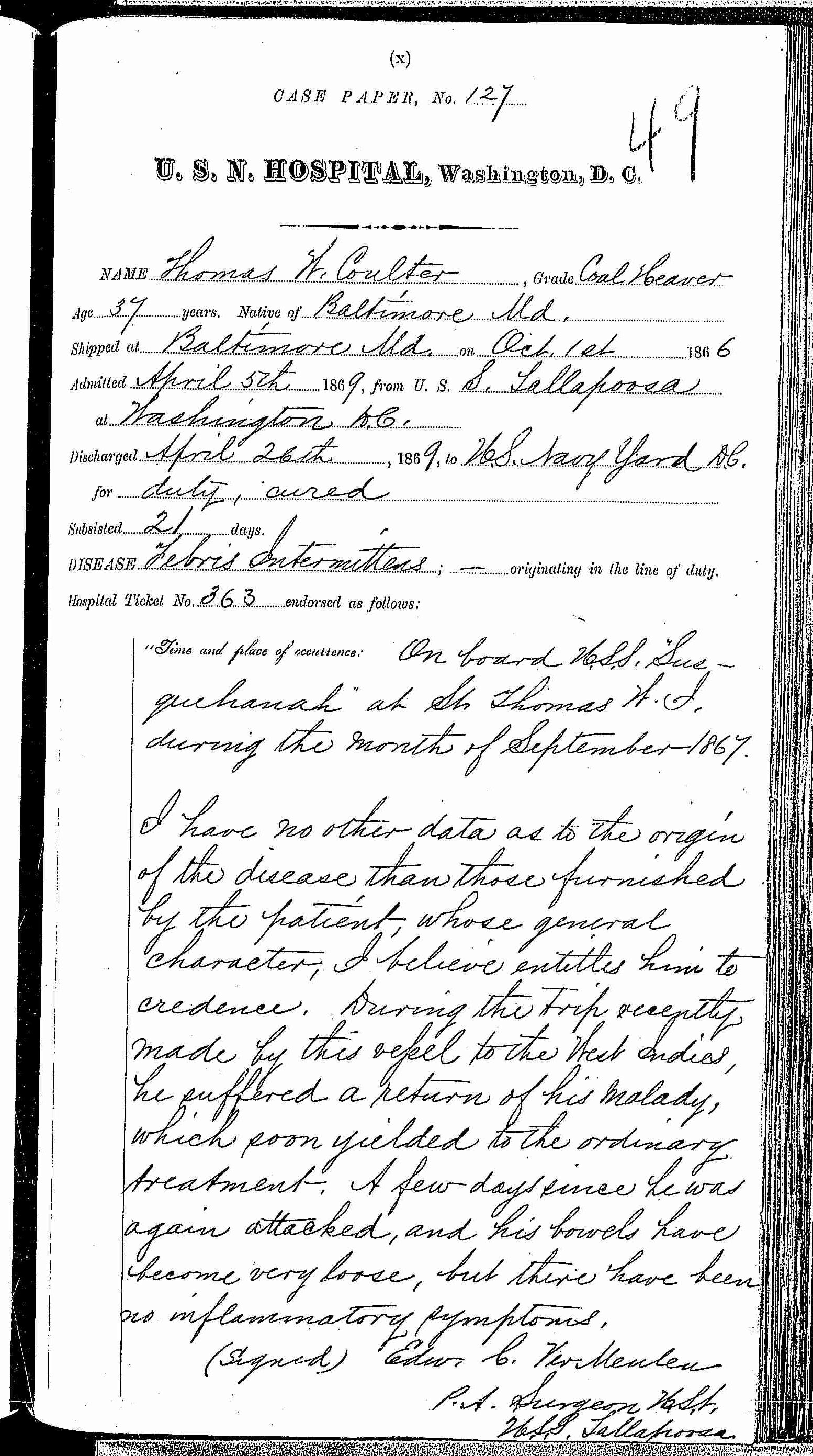 Entry for Thomas W. Coulter (page 1 of 3) in the log Hospital Tickets and Case Papers - Naval Hospital - Washington, D.C. - 1868-69