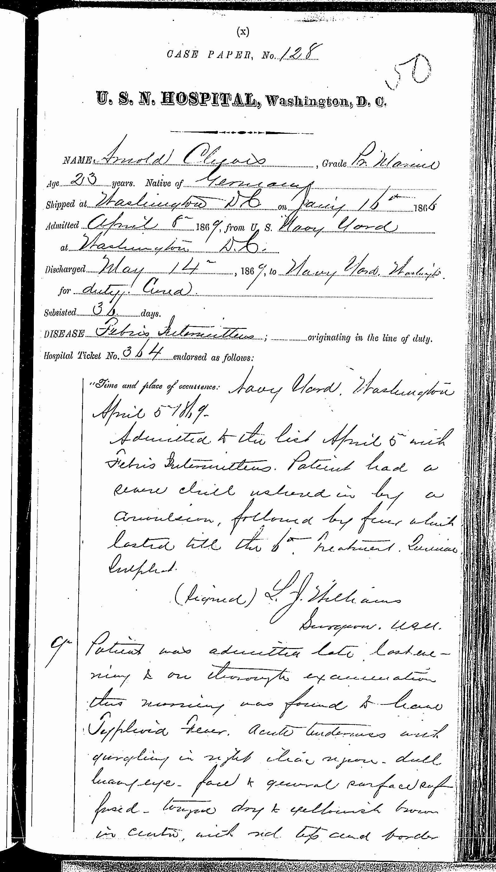 Entry for Arnold Cleeves (page 1 of 4) in the log Hospital Tickets and Case Papers - Naval Hospital - Washington, D.C. - 1868-69