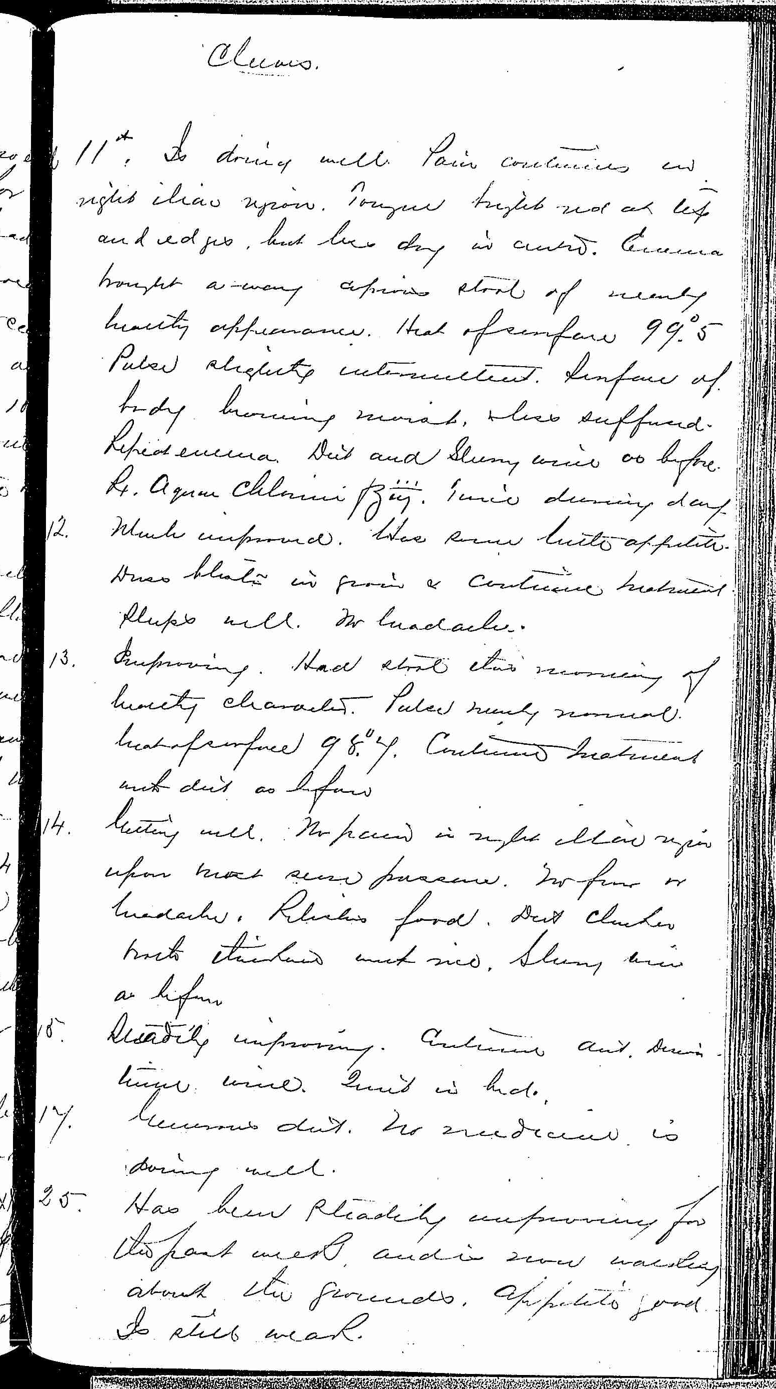 Entry for Arnold Cleeves (page 3 of 4) in the log Hospital Tickets and Case Papers - Naval Hospital - Washington, D.C. - 1868-69