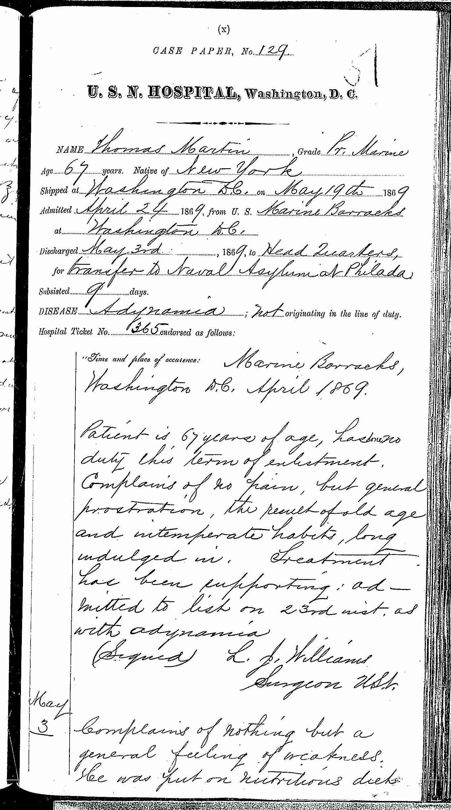 Entry for Thomas Martin (page 1 of 2) in the log Hospital Tickets and Case Papers - Naval Hospital - Washington, D.C. - 1868-69