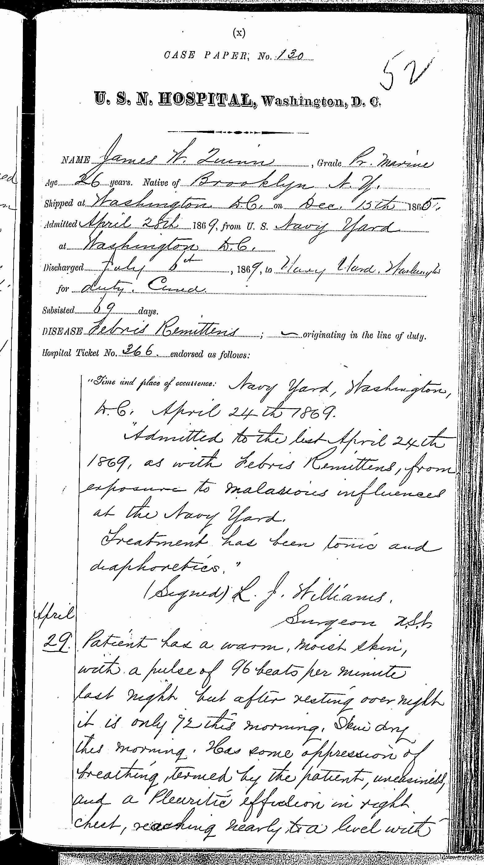 Entry for James W. Quinn (page 1 of 7) in the log Hospital Tickets and Case Papers - Naval Hospital - Washington, D.C. - 1868-69