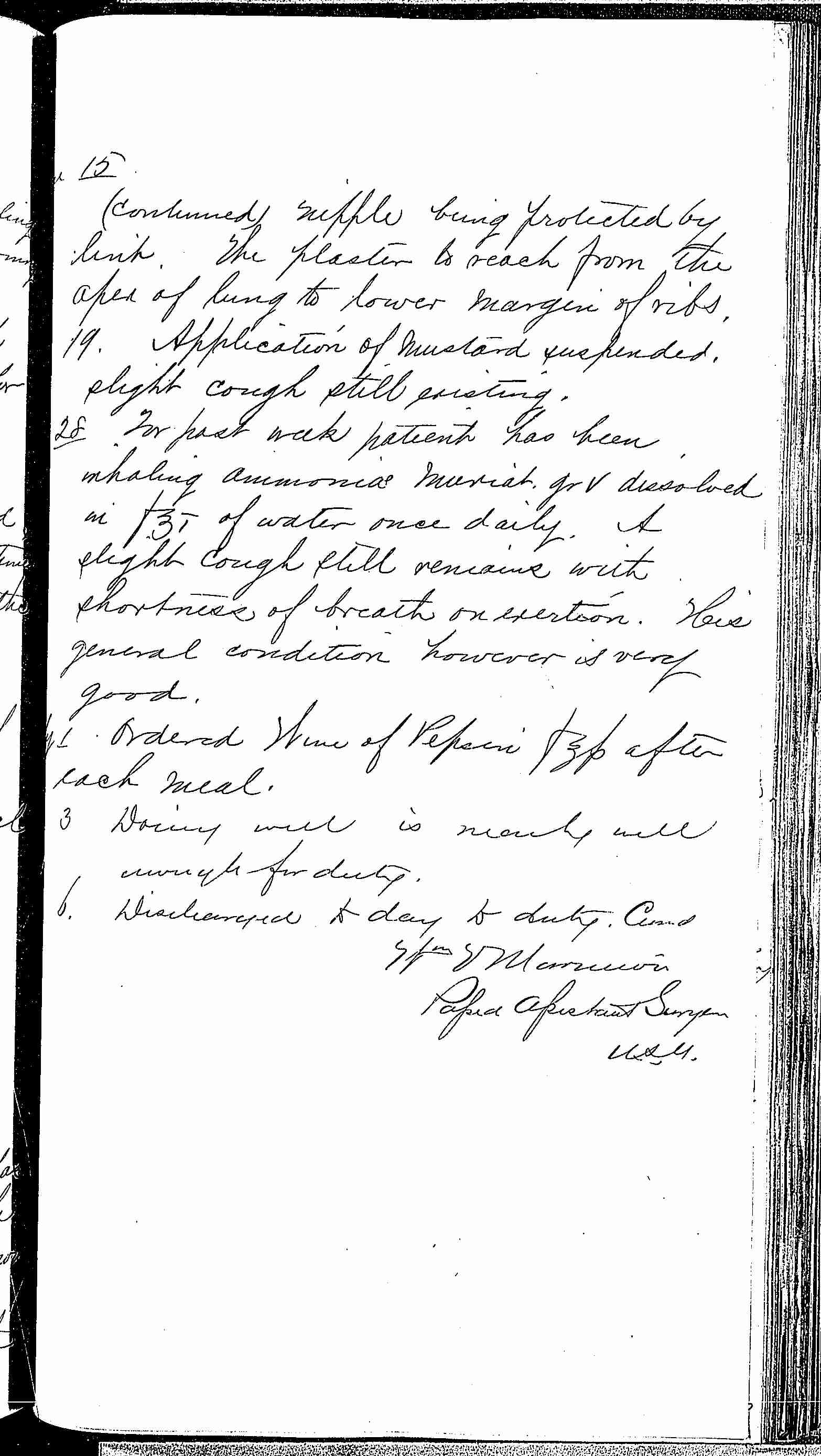 Entry for James W. Quinn (page 7 of 7) in the log Hospital Tickets and Case Papers - Naval Hospital - Washington, D.C. - 1868-69