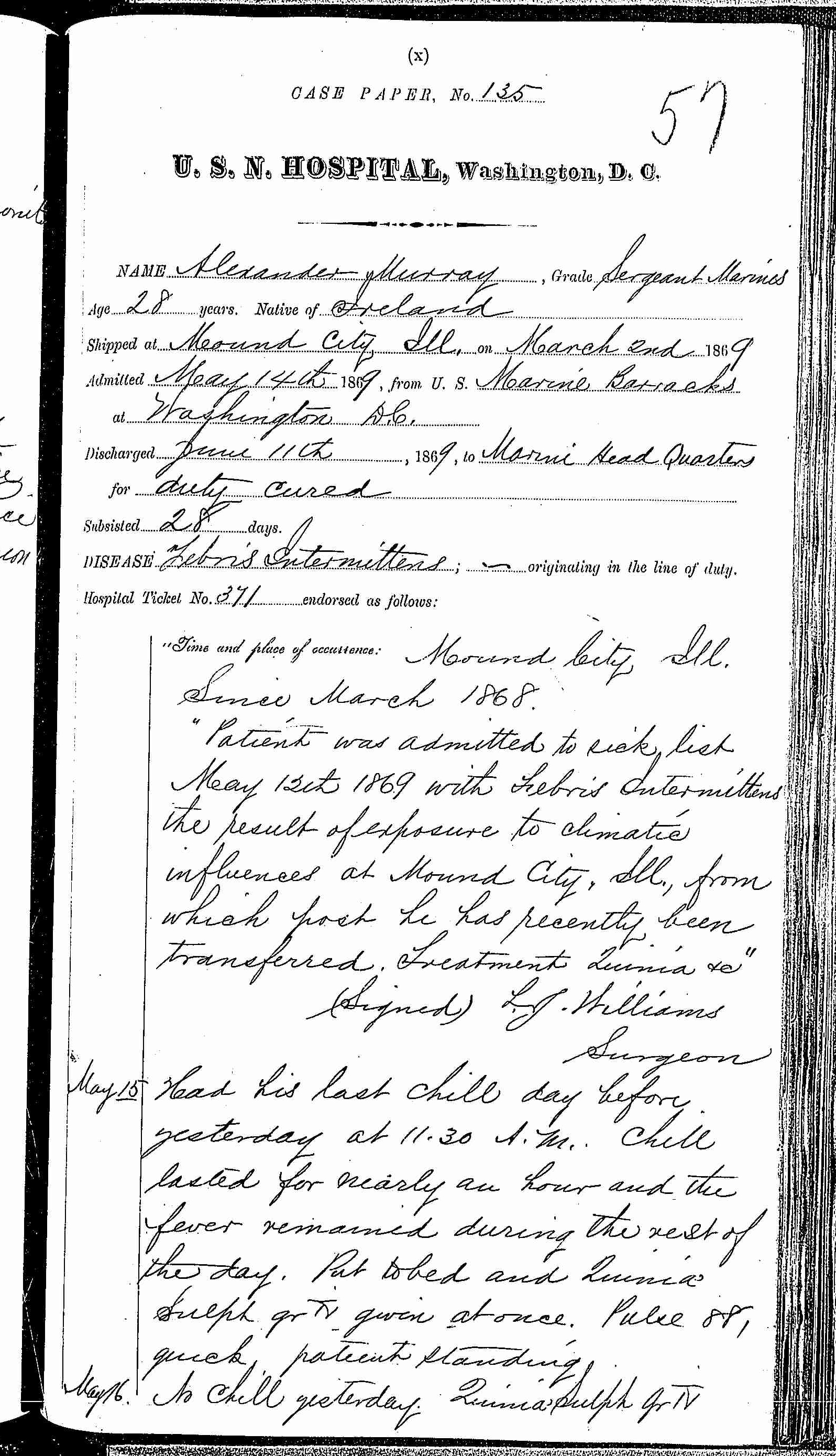Entry for Alexander Murray (page 1 of 4) in the log Hospital Tickets and Case Papers - Naval Hospital - Washington, D.C. - 1868-69