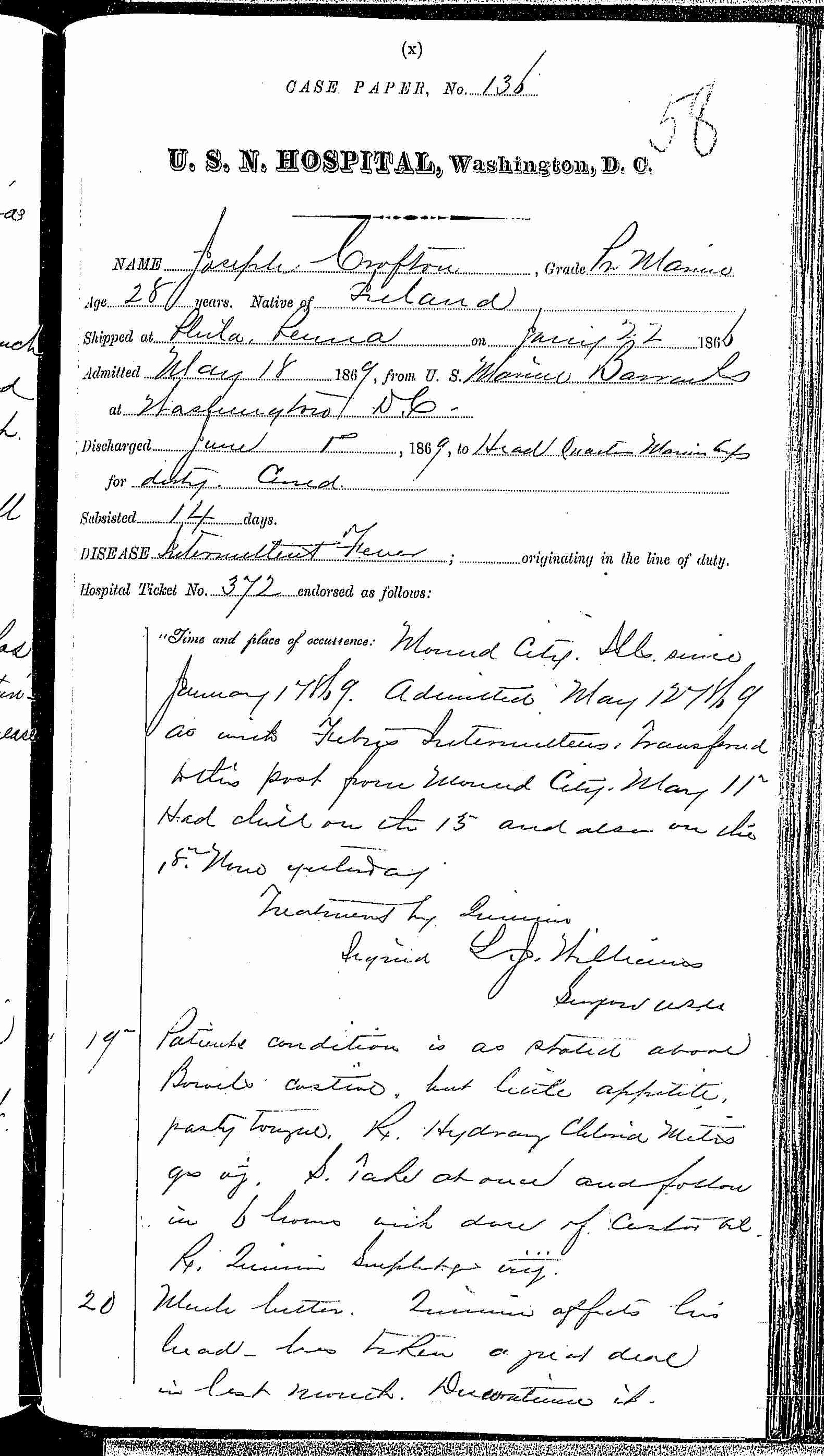 Entry for Joseph Crofton (page 1 of 2) in the log Hospital Tickets and Case Papers - Naval Hospital - Washington, D.C. - 1868-69