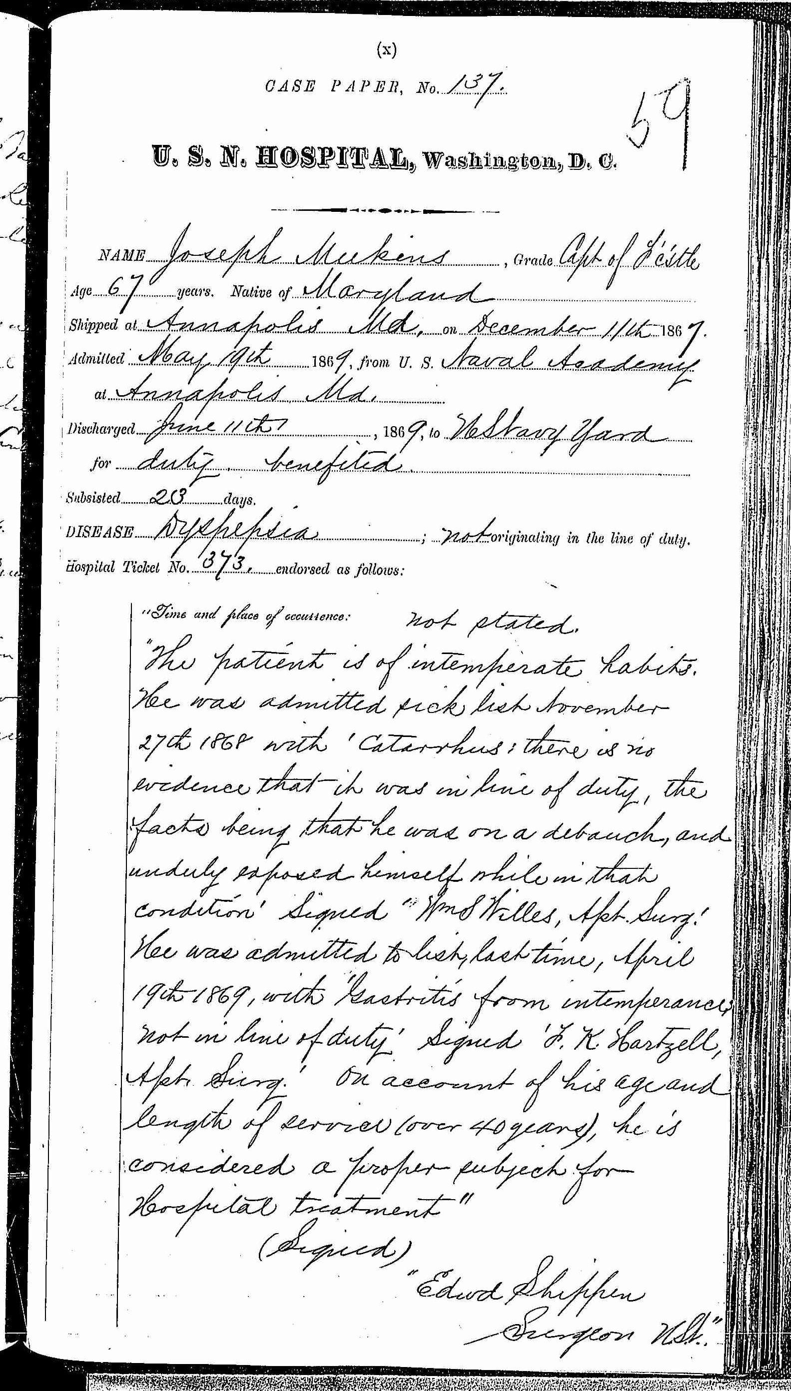 Entry for Joseph Meekins (page 1 of 3) in the log Hospital Tickets and Case Papers - Naval Hospital - Washington, D.C. - 1868-69