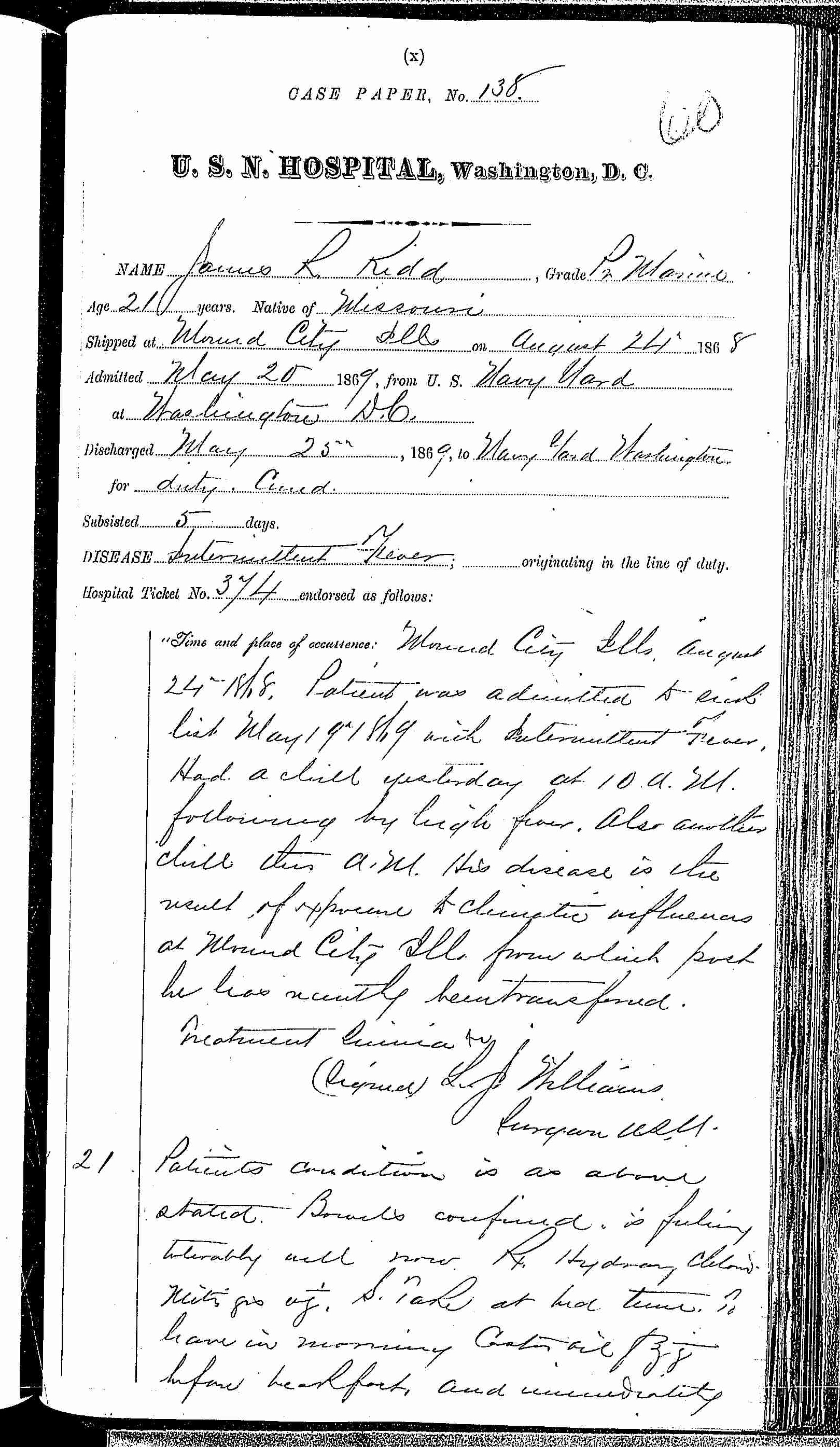 Entry for James R. Kidd (page 1 of 2) in the log Hospital Tickets and Case Papers - Naval Hospital - Washington, D.C. - 1868-69
