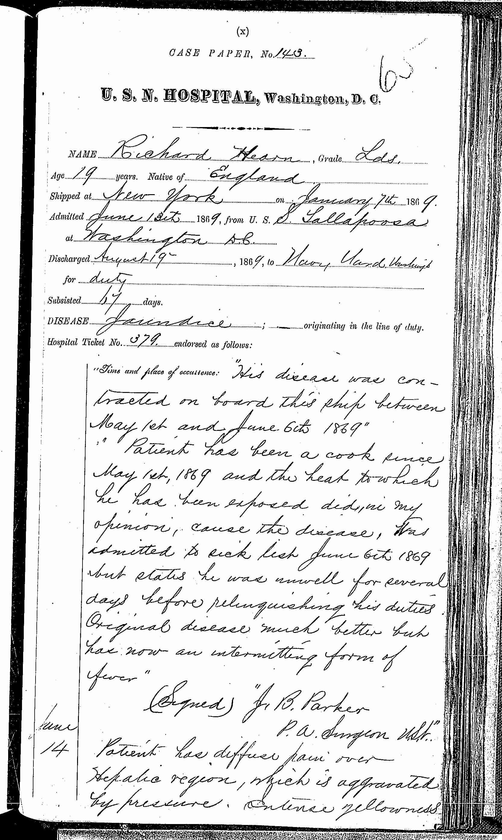 Entry for Richard Hearn (page 1 of 7) in the log Hospital Tickets and Case Papers - Naval Hospital - Washington, D.C. - 1868-69