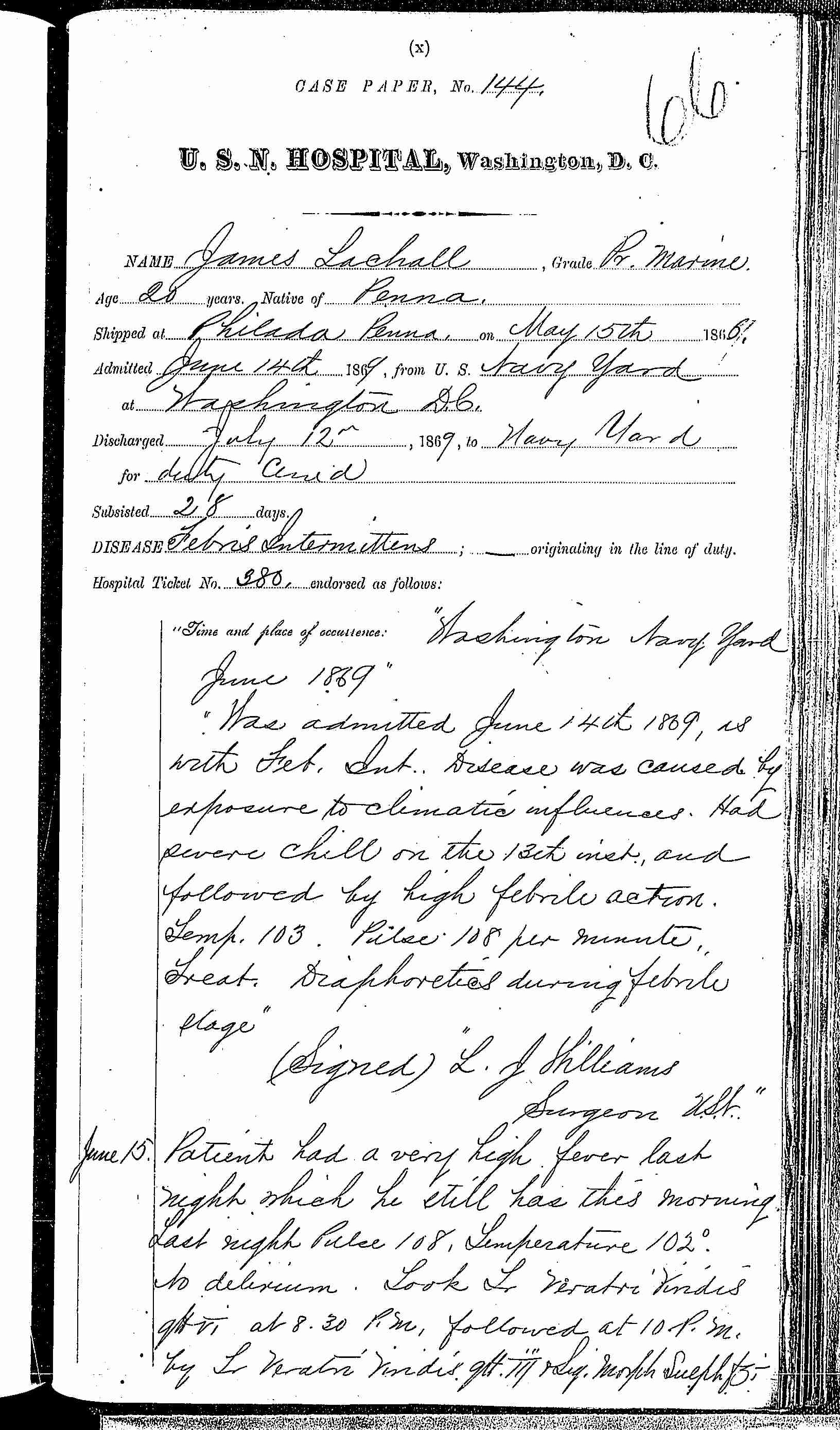 Entry for James Lachall (page 1 of 5) in the log Hospital Tickets and Case Papers - Naval Hospital - Washington, D.C. - 1868-69